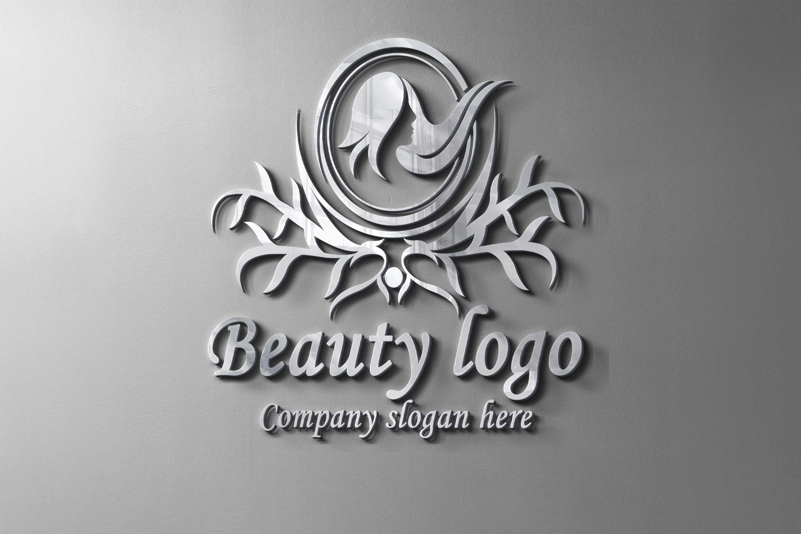 Luxury Beauty Logo Design With metal wall