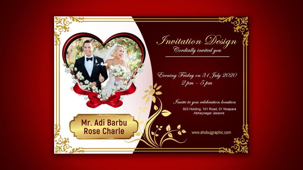 free luxury wedding invitation design  graphicsfamily