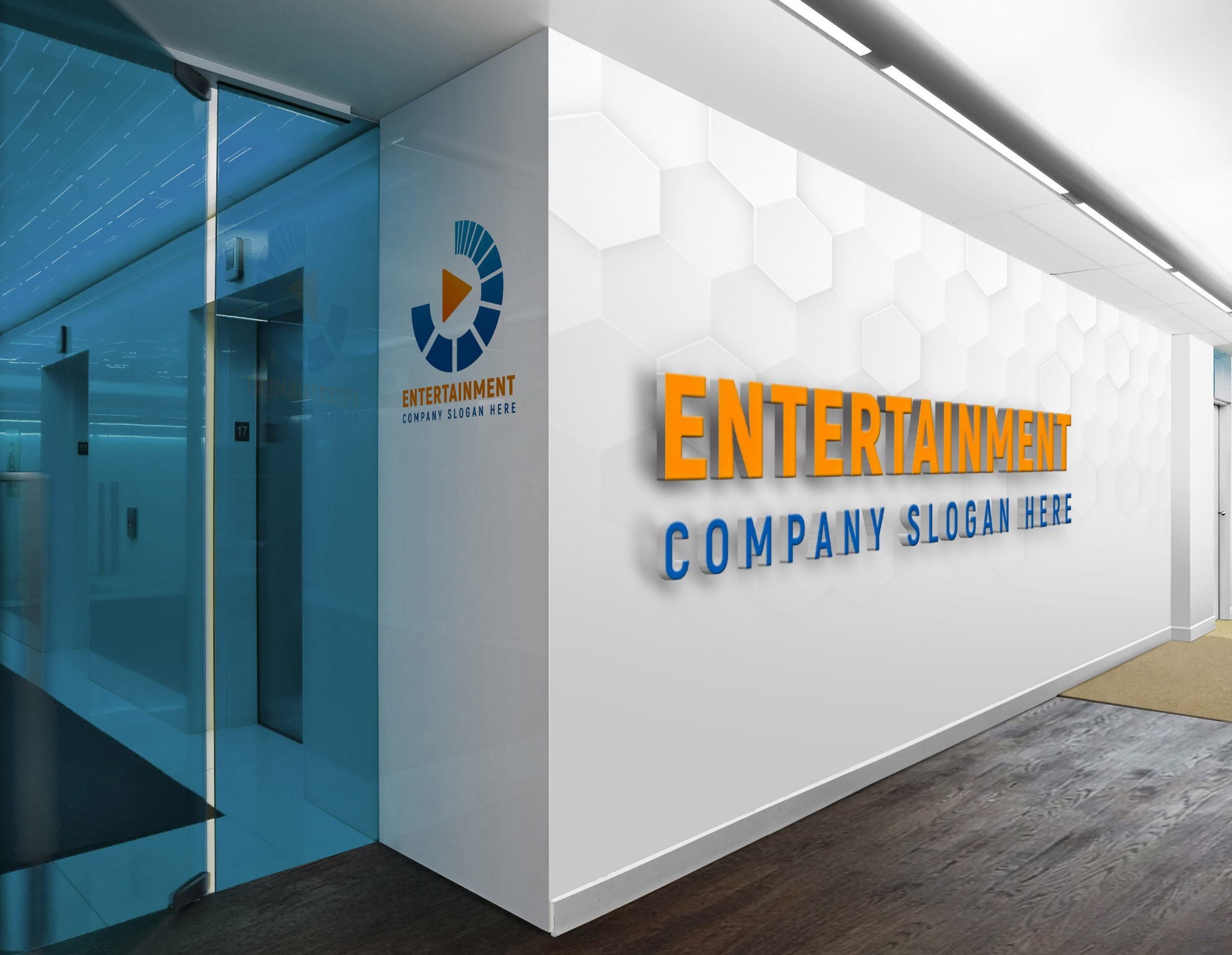 Media entertainment logo free photoshop design on wall