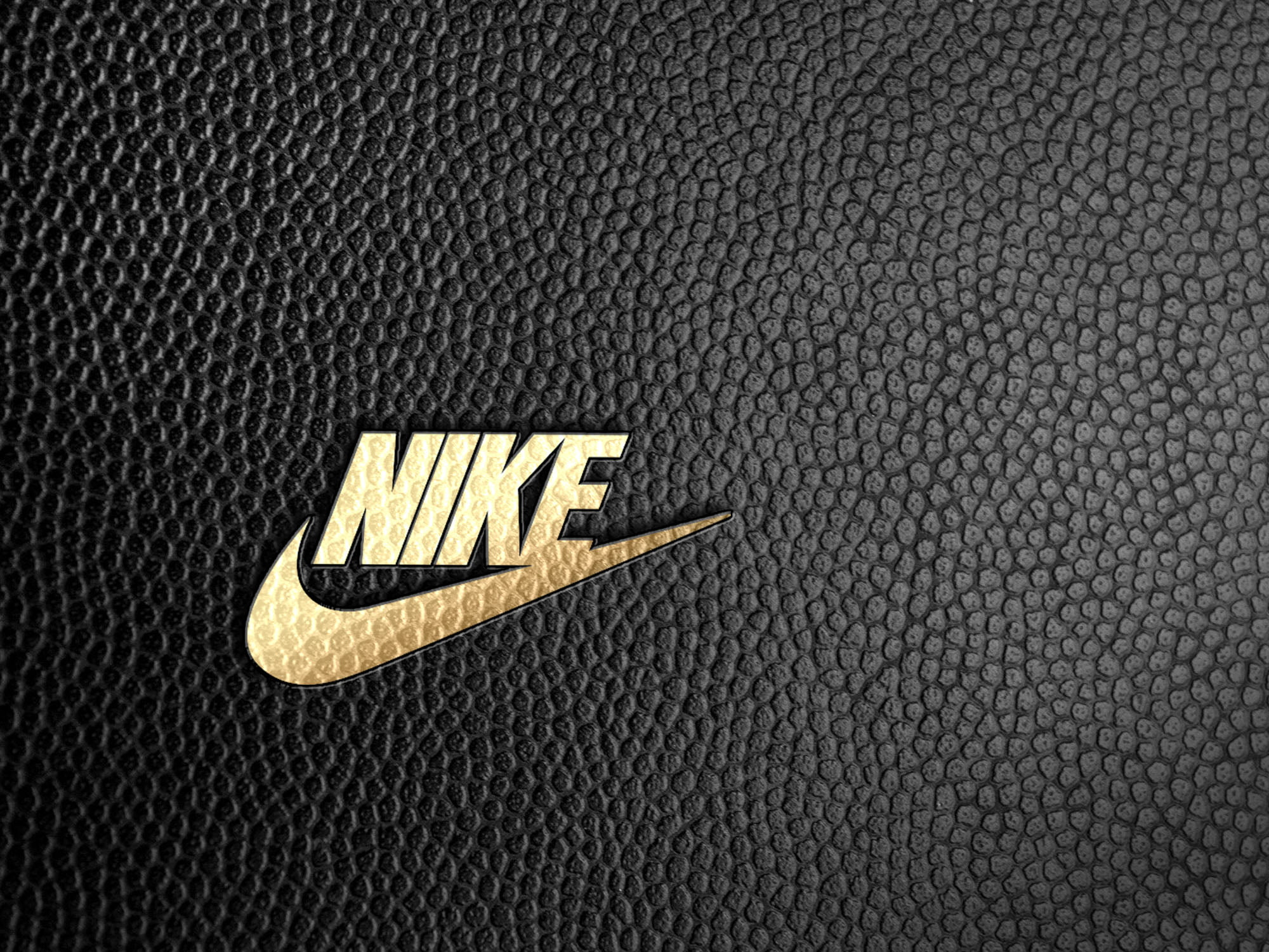 Nike logo on black leather