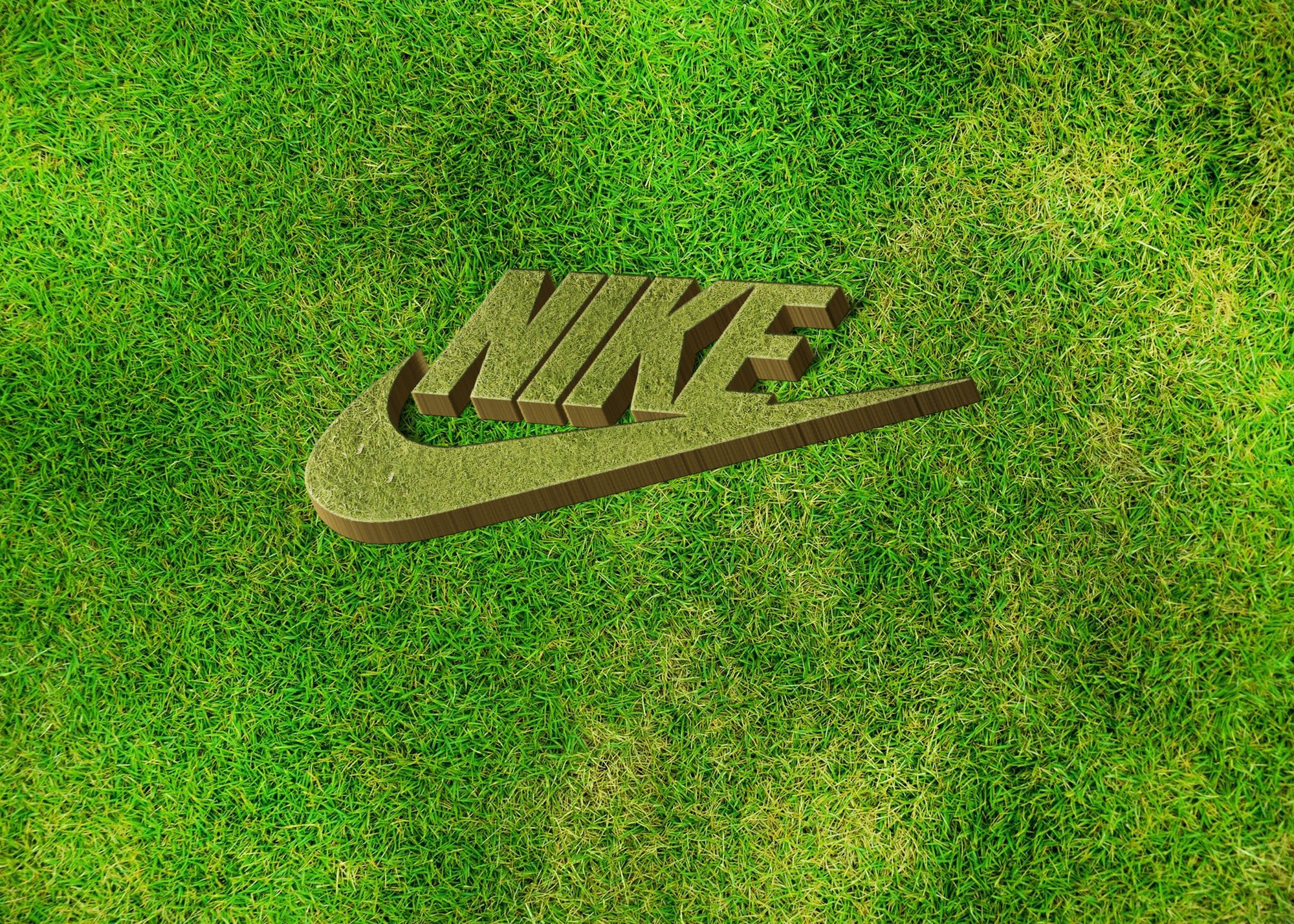 Nike on 3d grass mockup