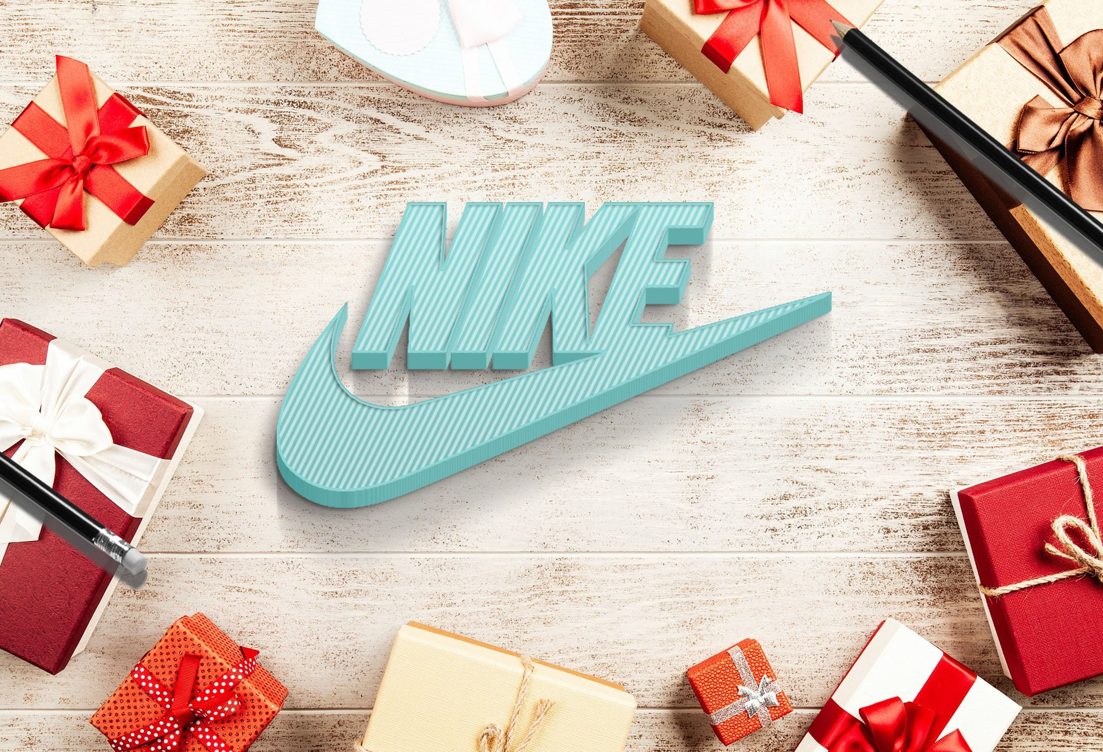 Nike on 3d white wood mockup