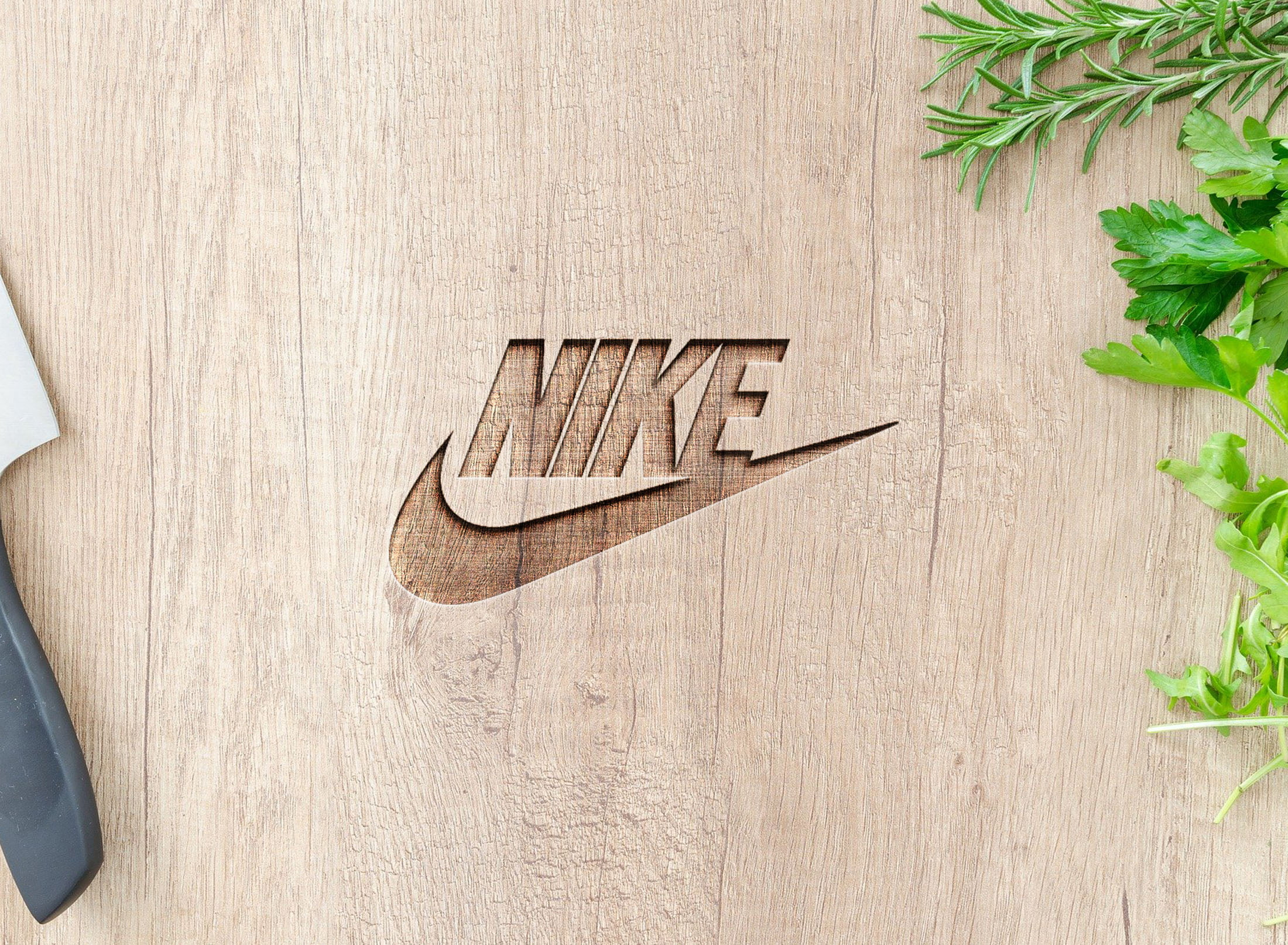 Nike on curved wood mockup