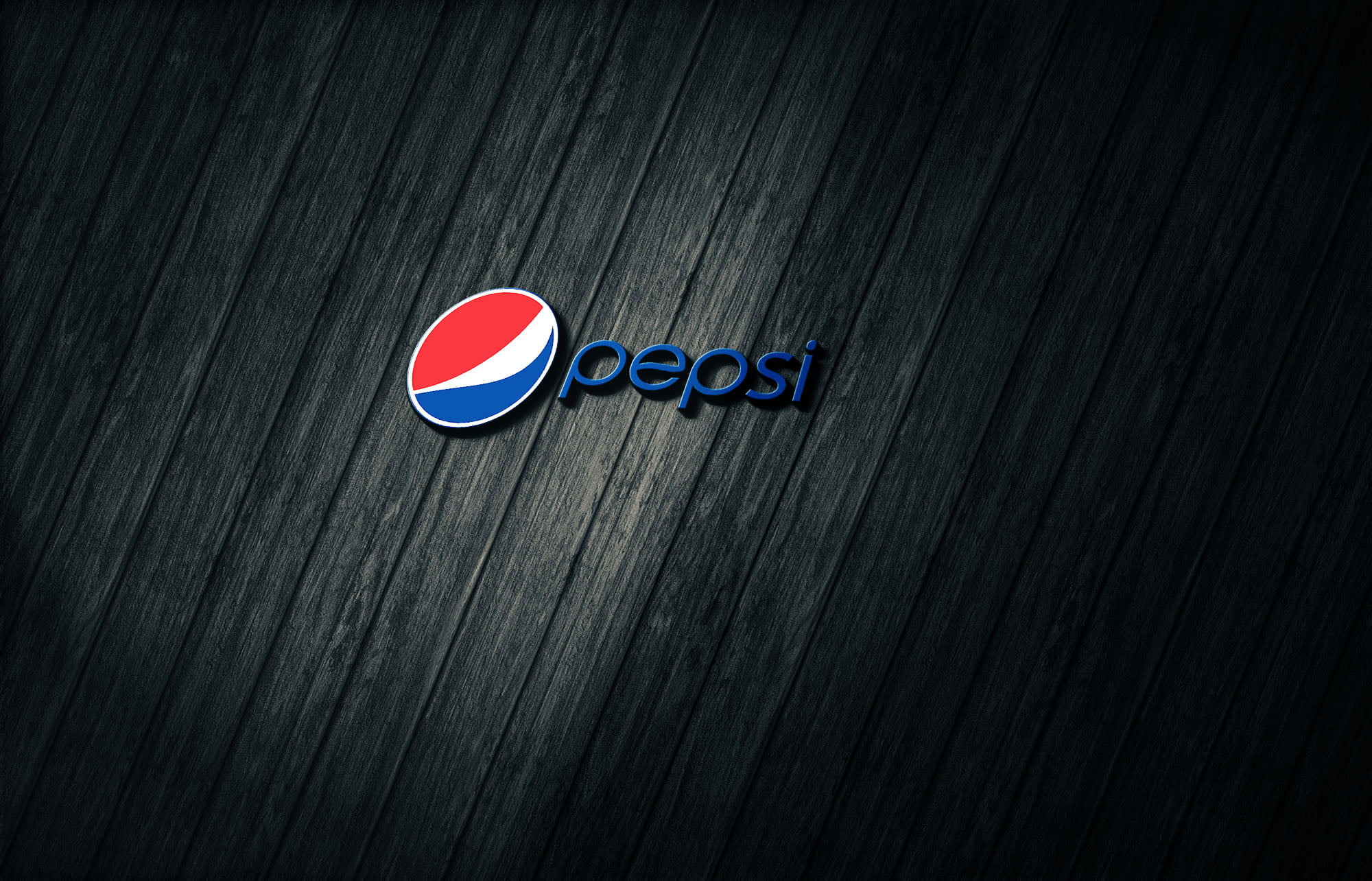 Pepsi on 3d dark wood mockup