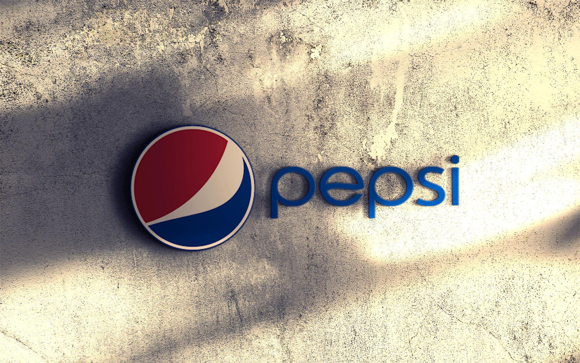 Pepsi on 3d wall logo mockup free