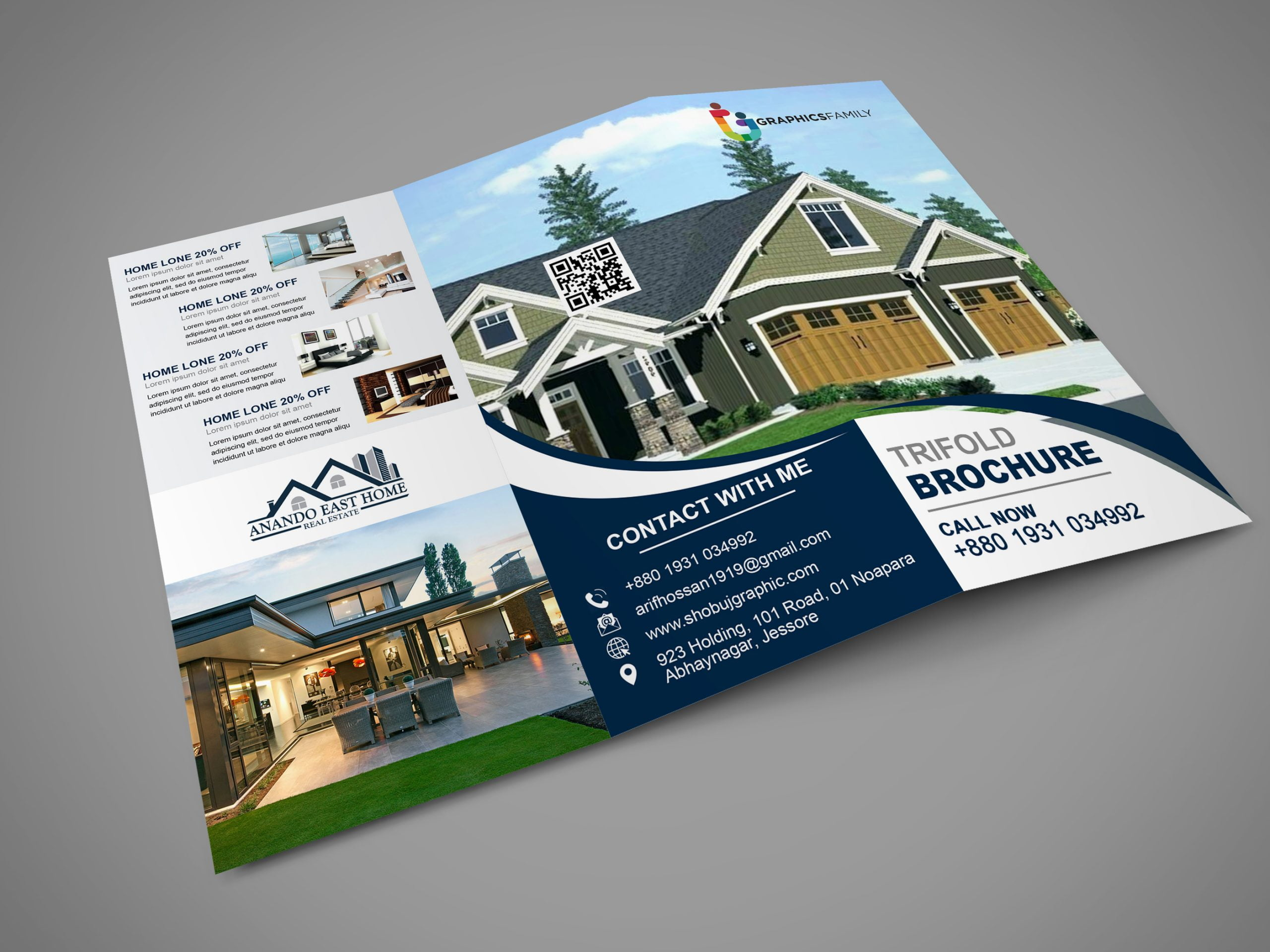 Real Estate Tri Fold Brochure In Photoshop Free Download