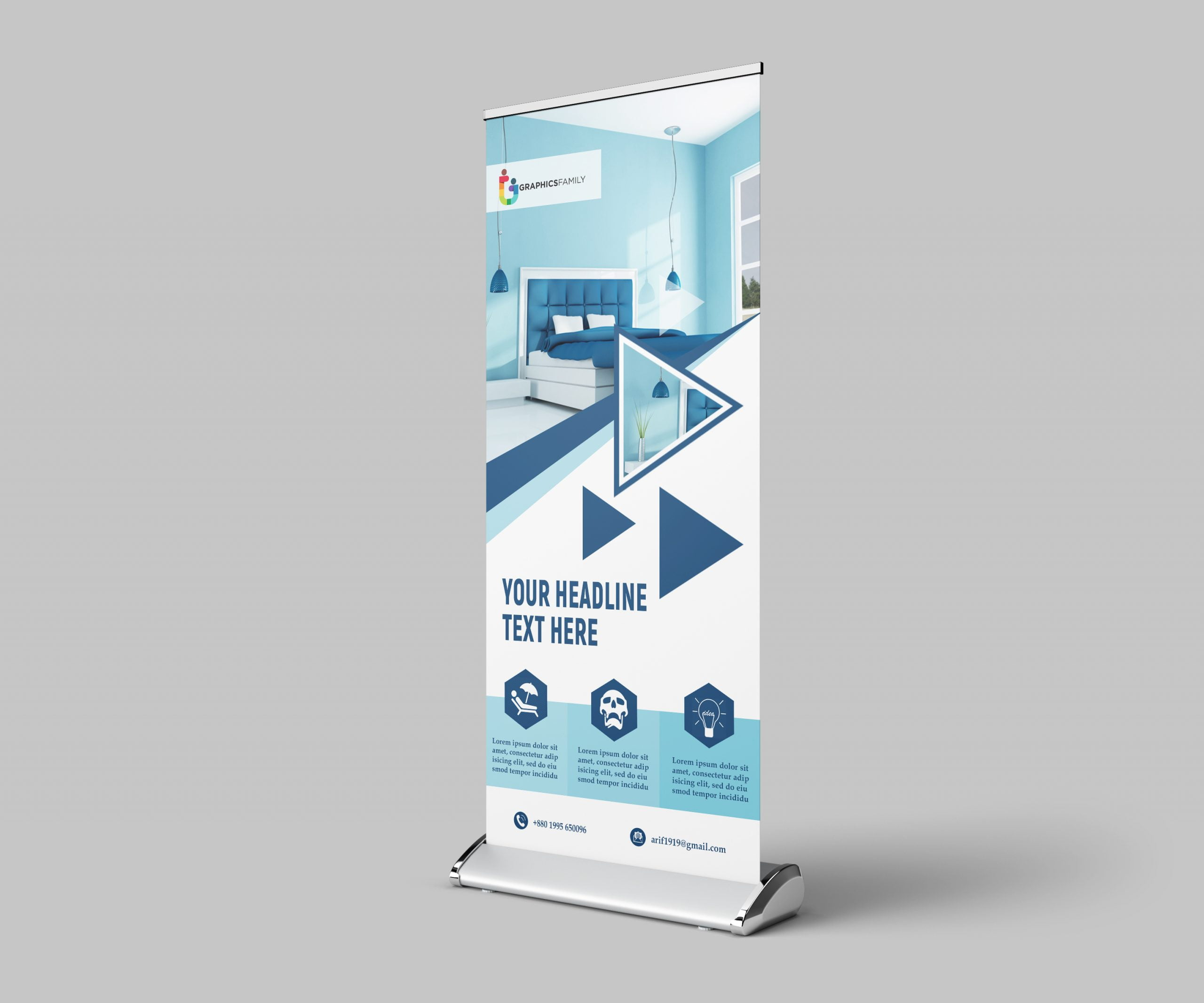 Roll up Banner For home decoration free psd