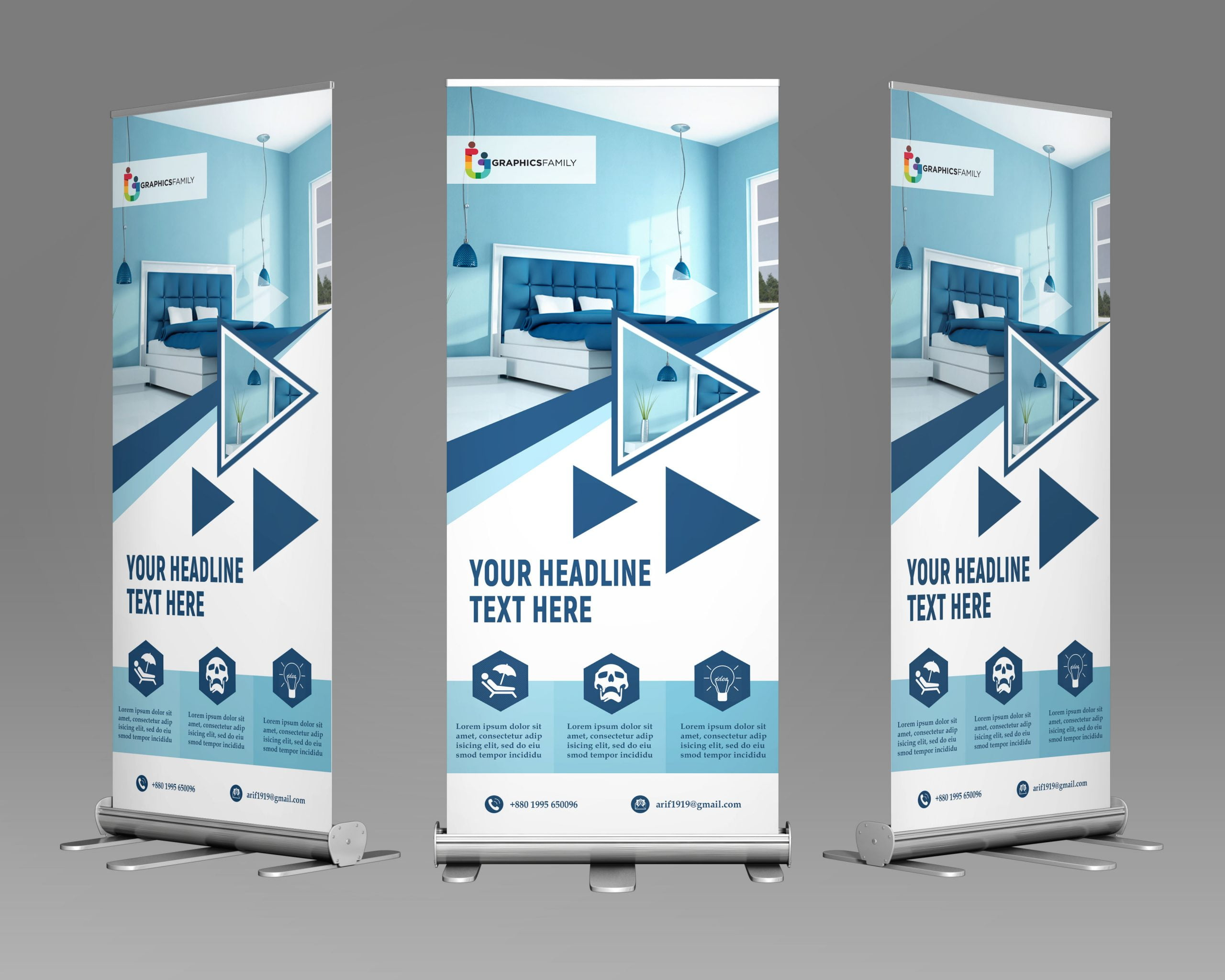 Roll up banner for home decoration free template