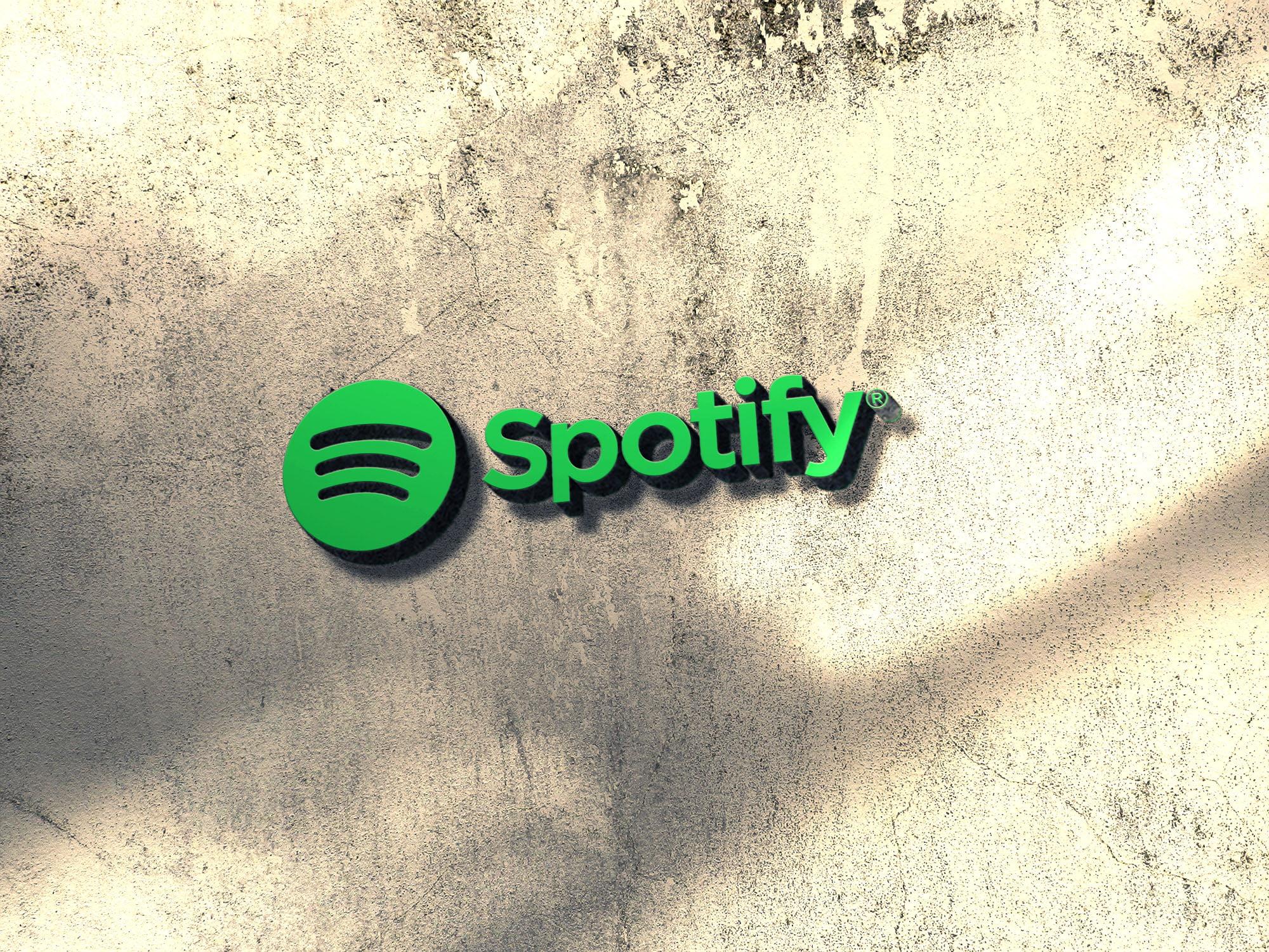 Spotify 3d wall mockup
