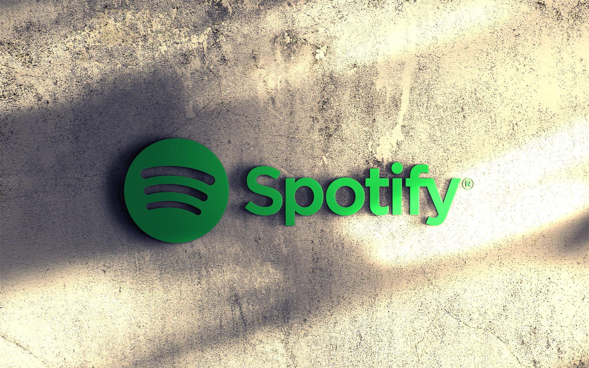 Spotify logo on 3d wall mockup psd