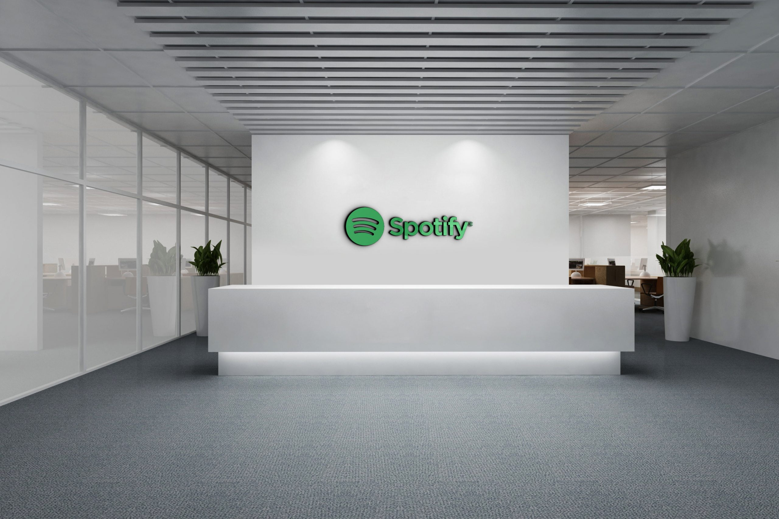 Spotify logo on 3d white wall