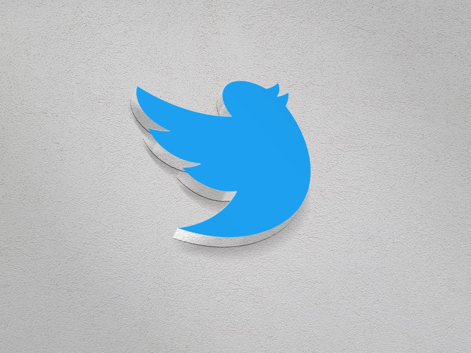 Twitter Logo on 3d realistic wall mockup