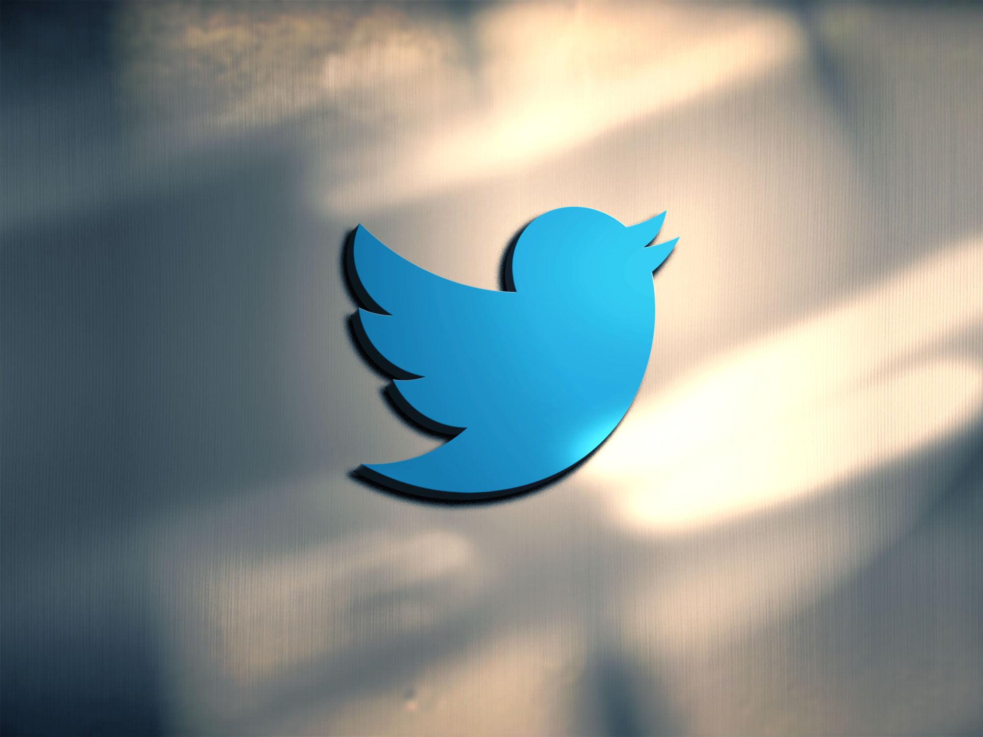Twitter logo on 3d metal mockup