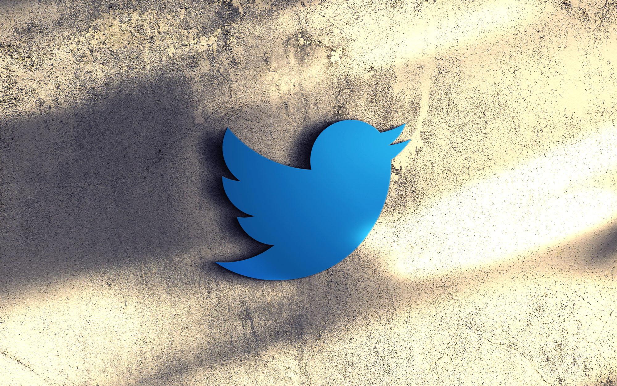 Twitter on 3d wall mockup
