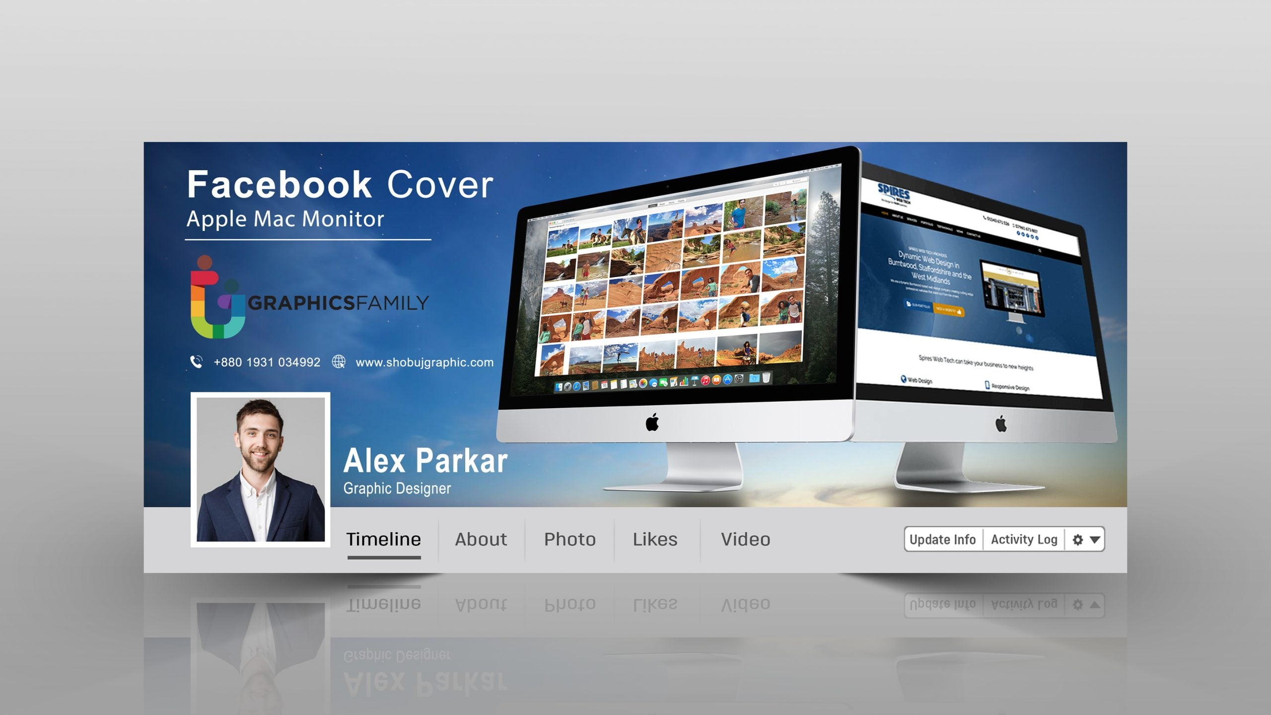 Web Marketing Digital Studio Facebook Cover Template