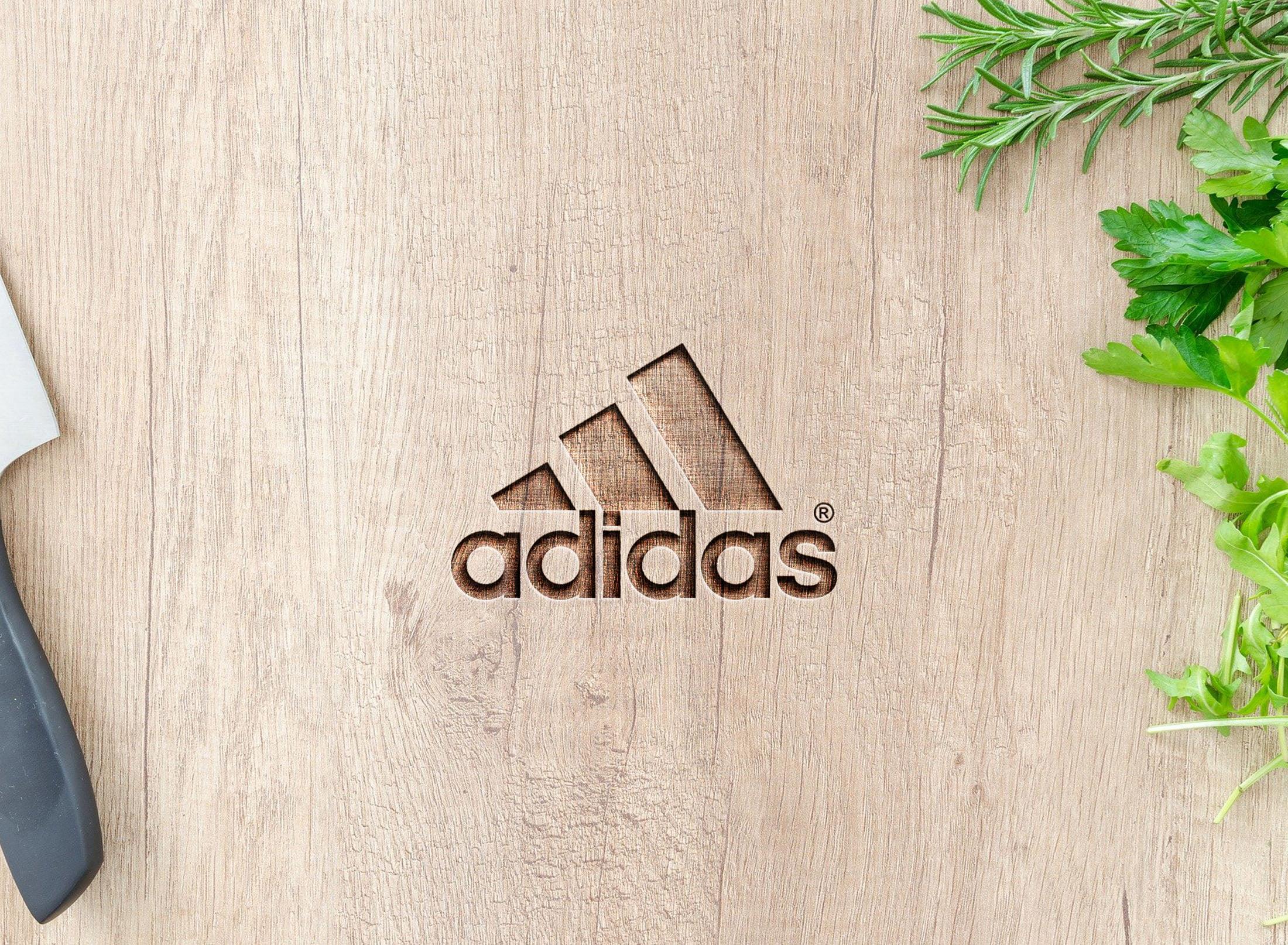adidas on 3d wood mockup