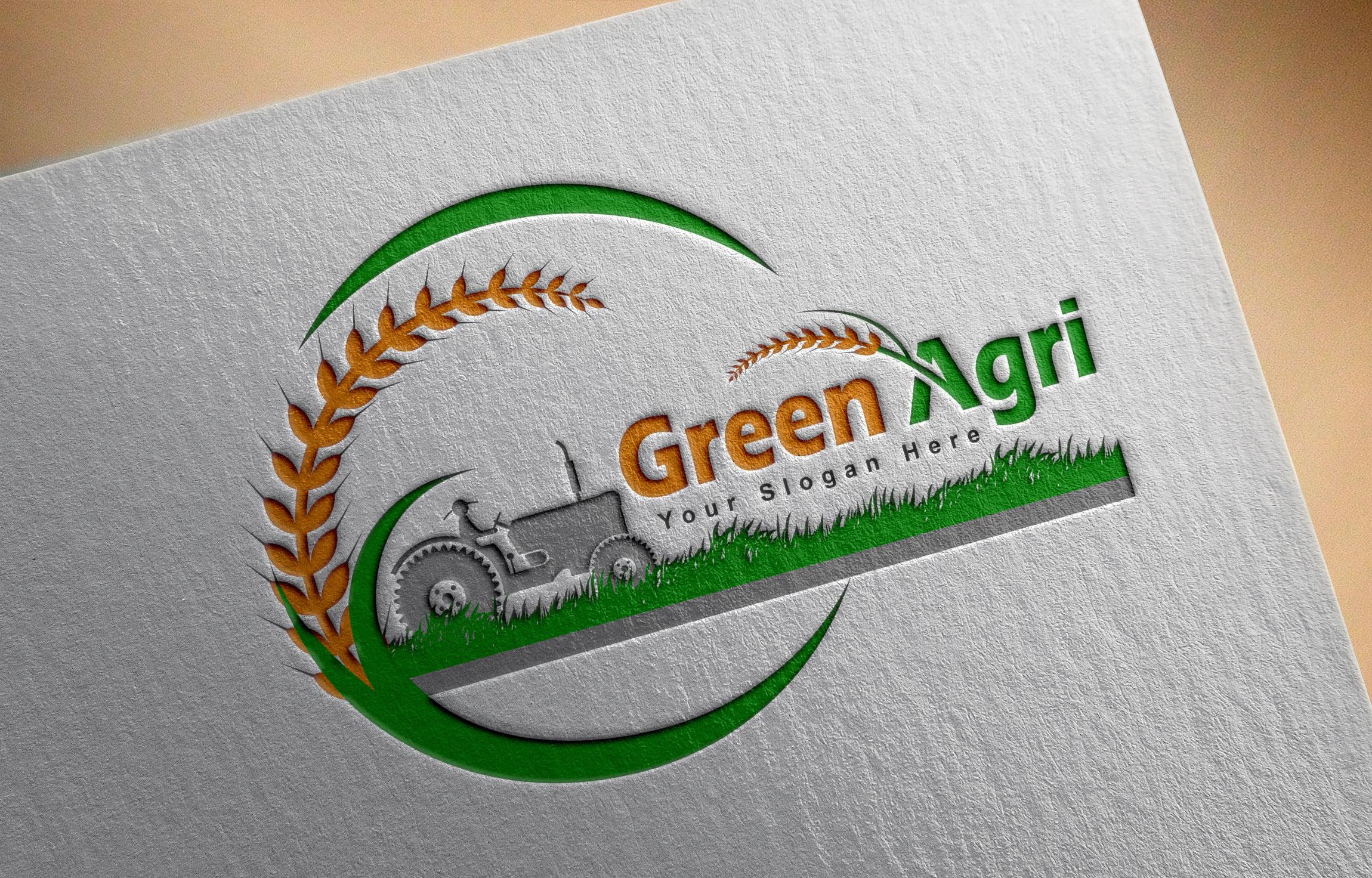 agriculture logo design on paper mockup