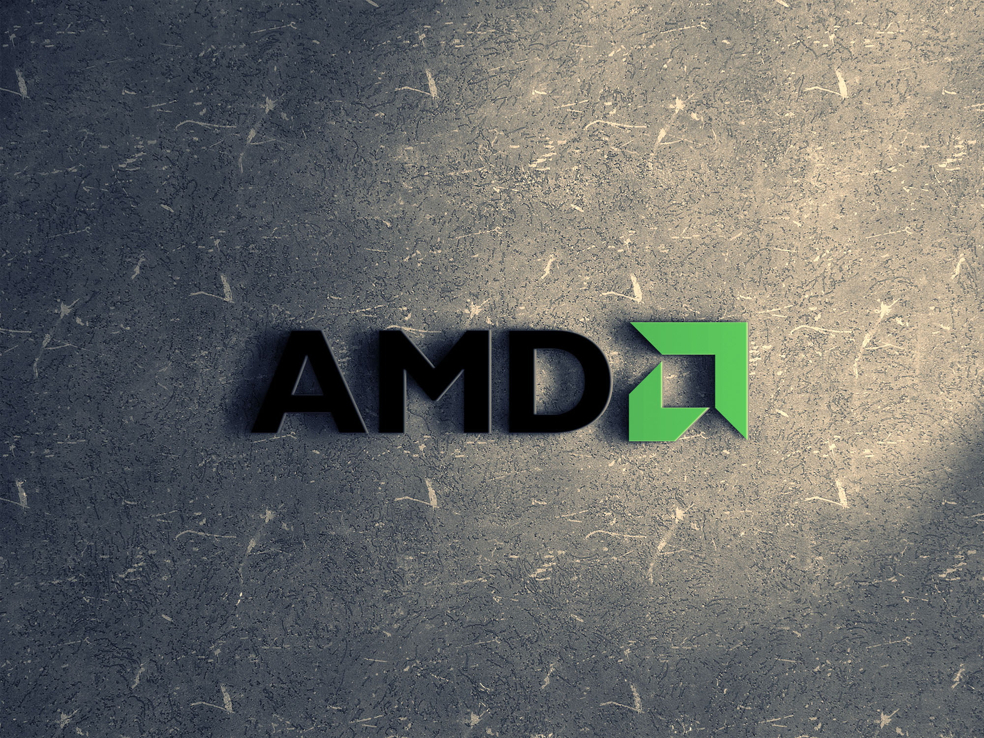 amd logo on ceramic wall mockup