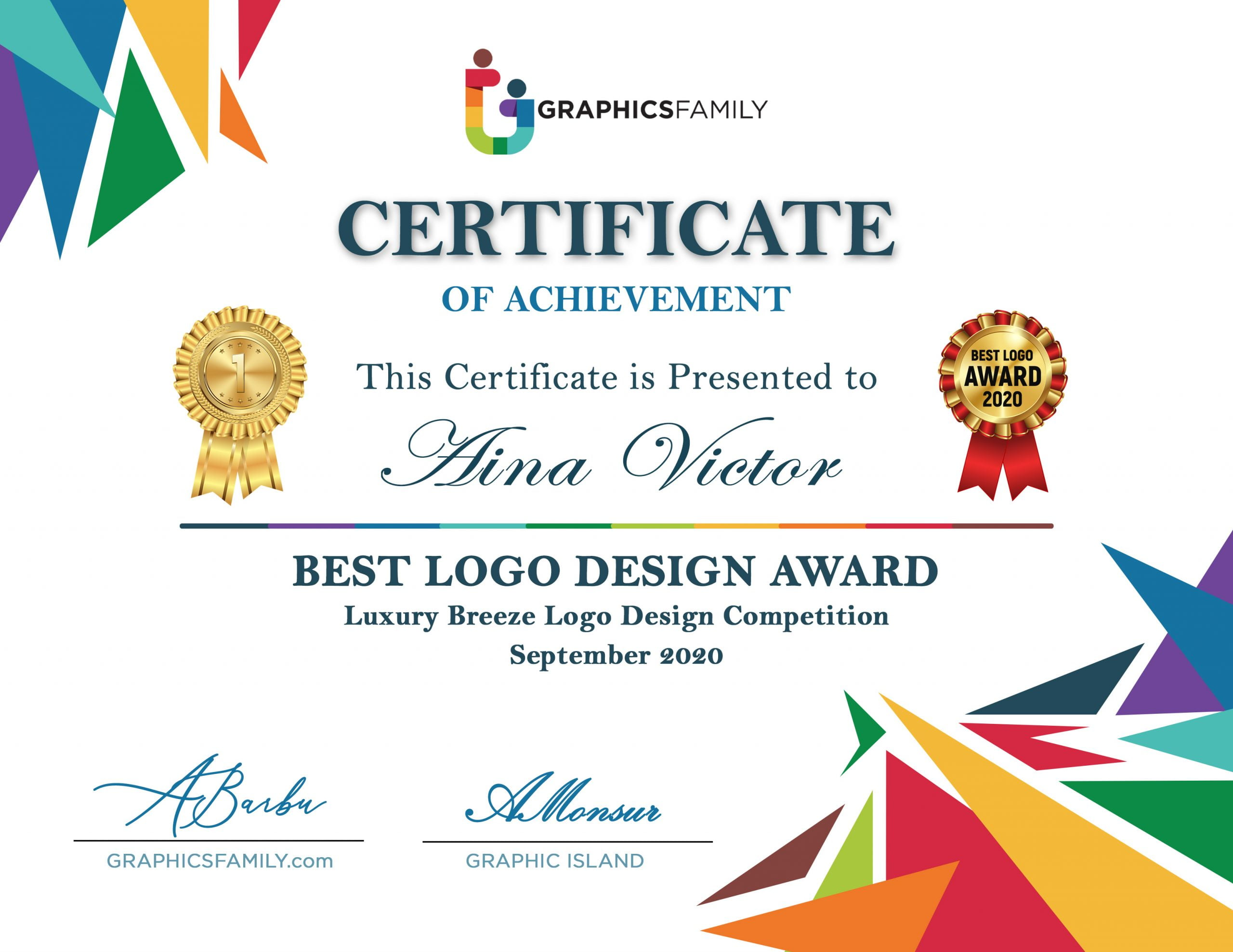 Aina-Victor-Best-Logo-Design-Award-Certificate-GraphicsFamily