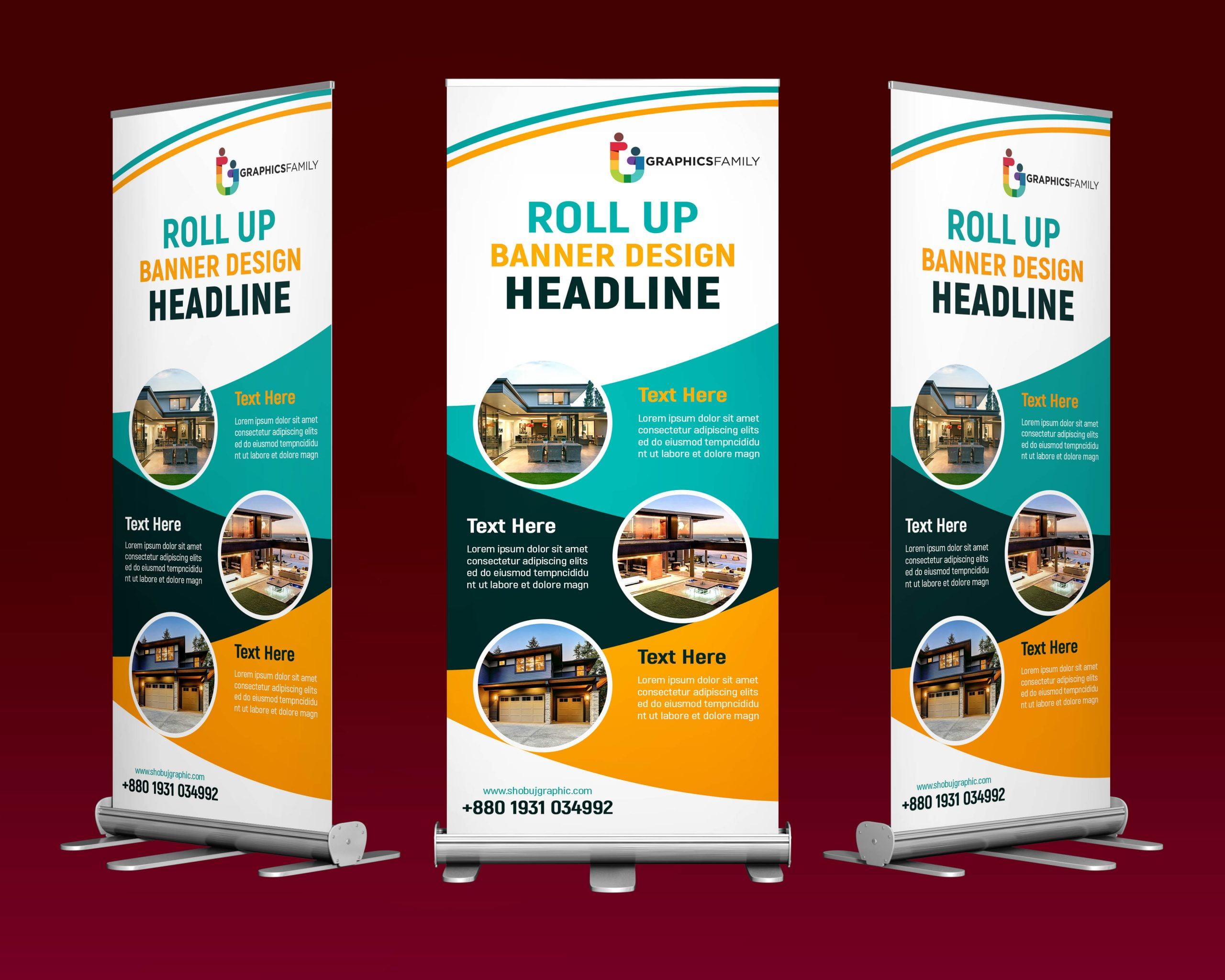 Business roll up design standard banner template psd