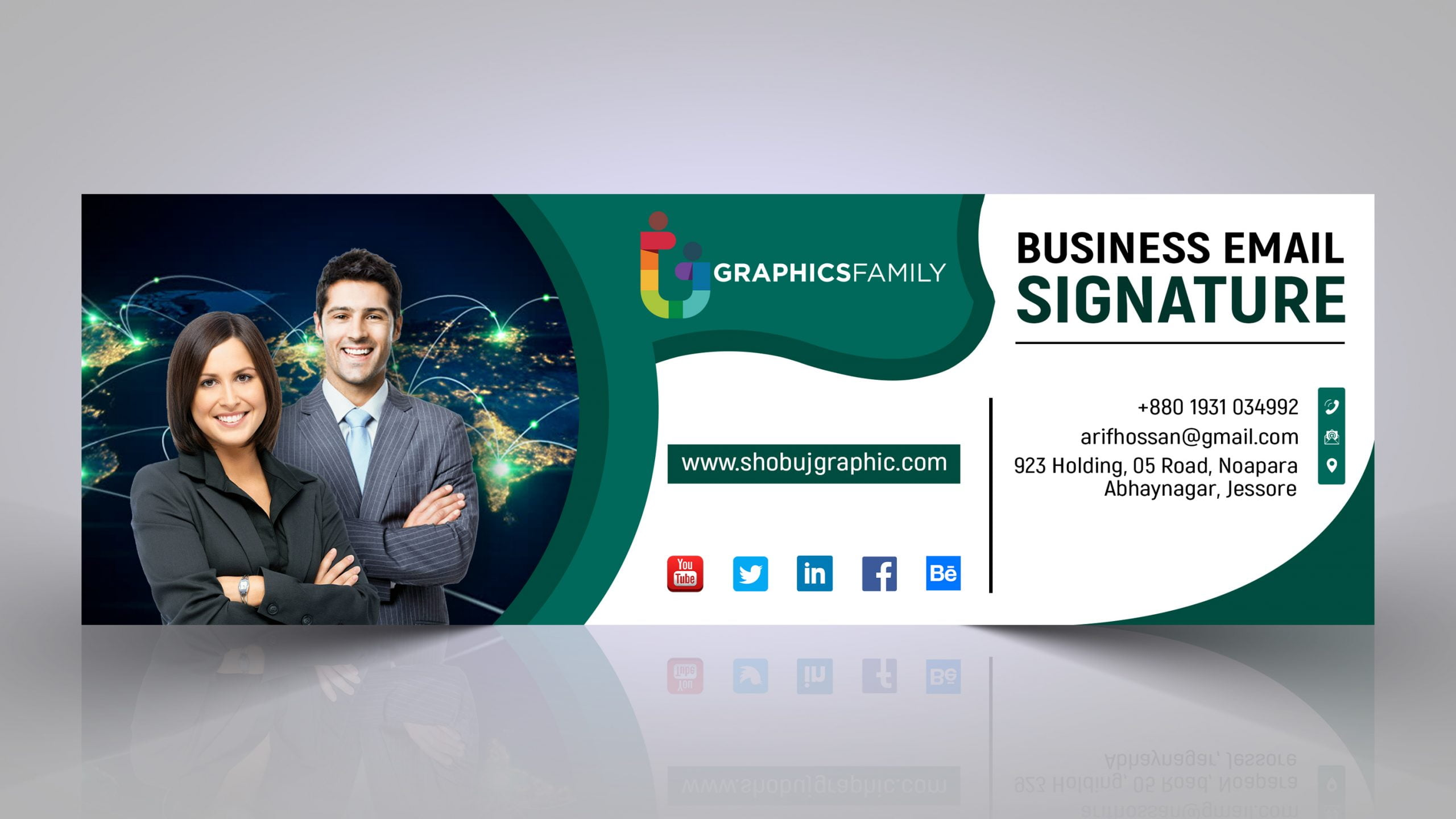 Email signature in flat style presentation