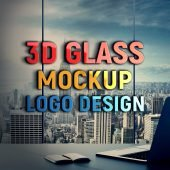 Realistic 3D Logo Mockup on Transparent Glass