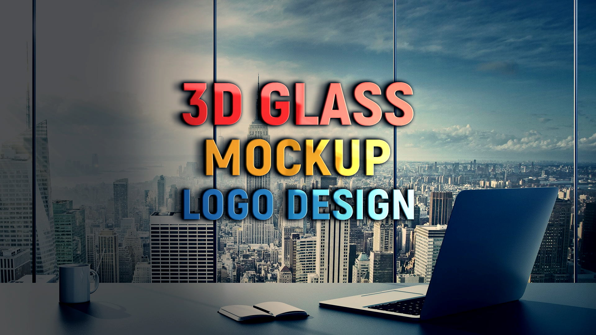 Free PSD 3D Wall Glass Logo Mockup Design