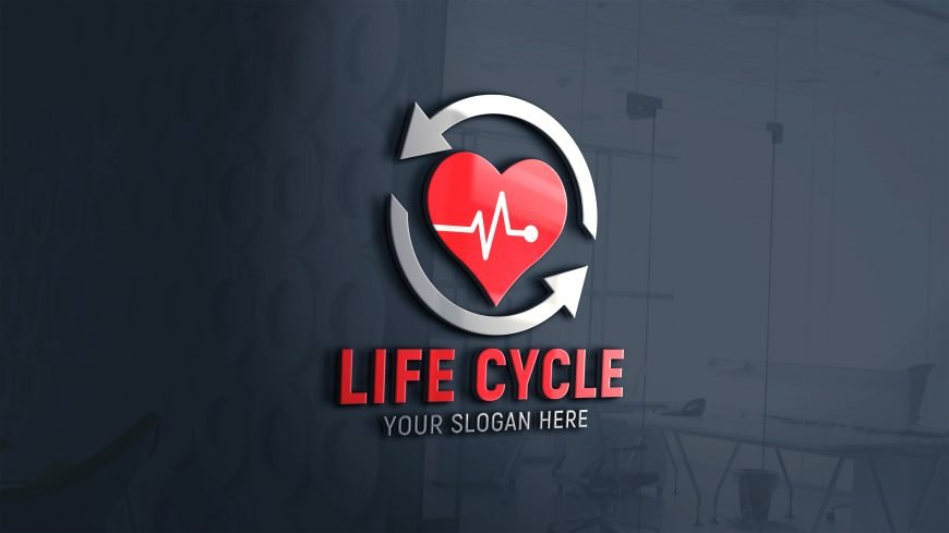 Life-Cycle-Logo-Design-Template-on-3d-glass-wall-scaled