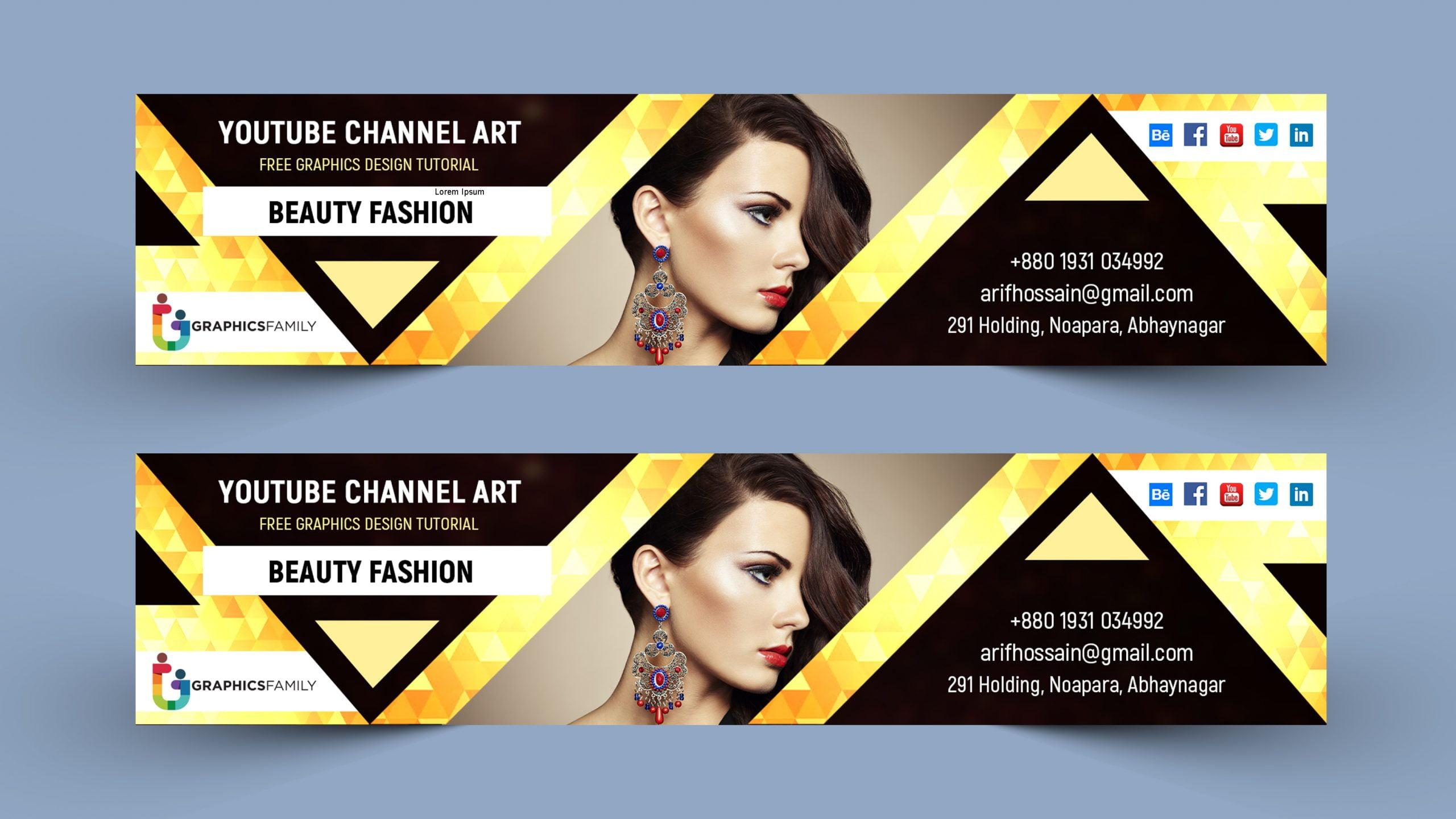Luxury Youtube Channel Art Banner Design