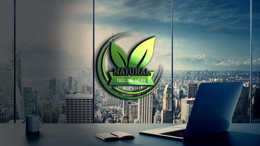 Natural-Logo-Design-on-glass-wall