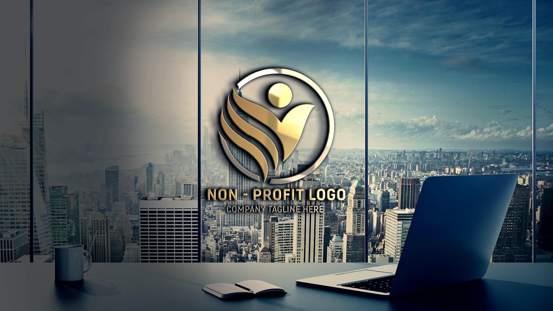Non-Profit Company Logo Design glass wall presentation