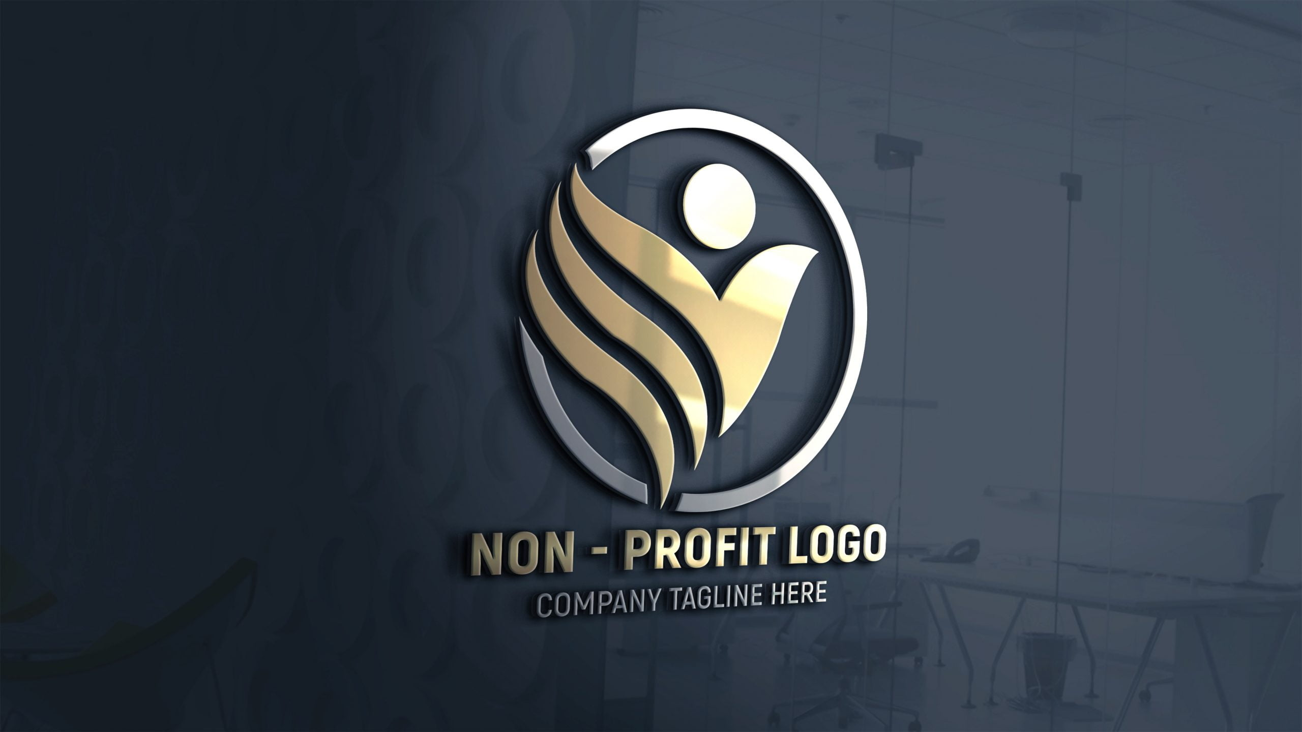 Non-Profit Company Logo Design on 3d glass window