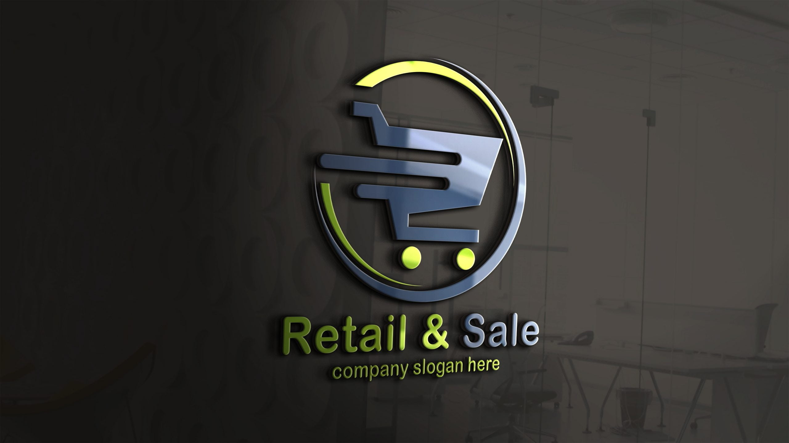 Online shopping logo design on 3d glass wall