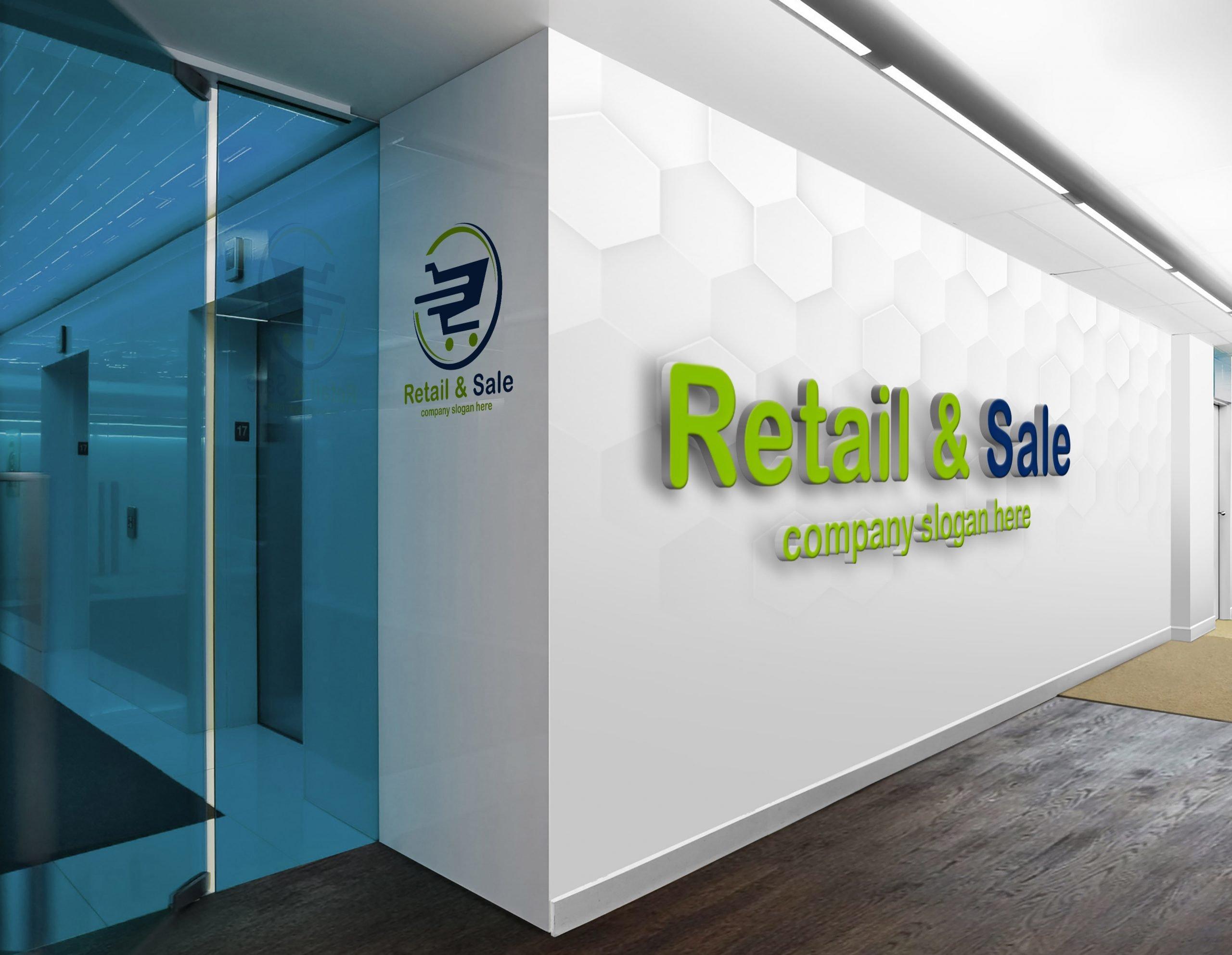 Online shopping logo design on white wall