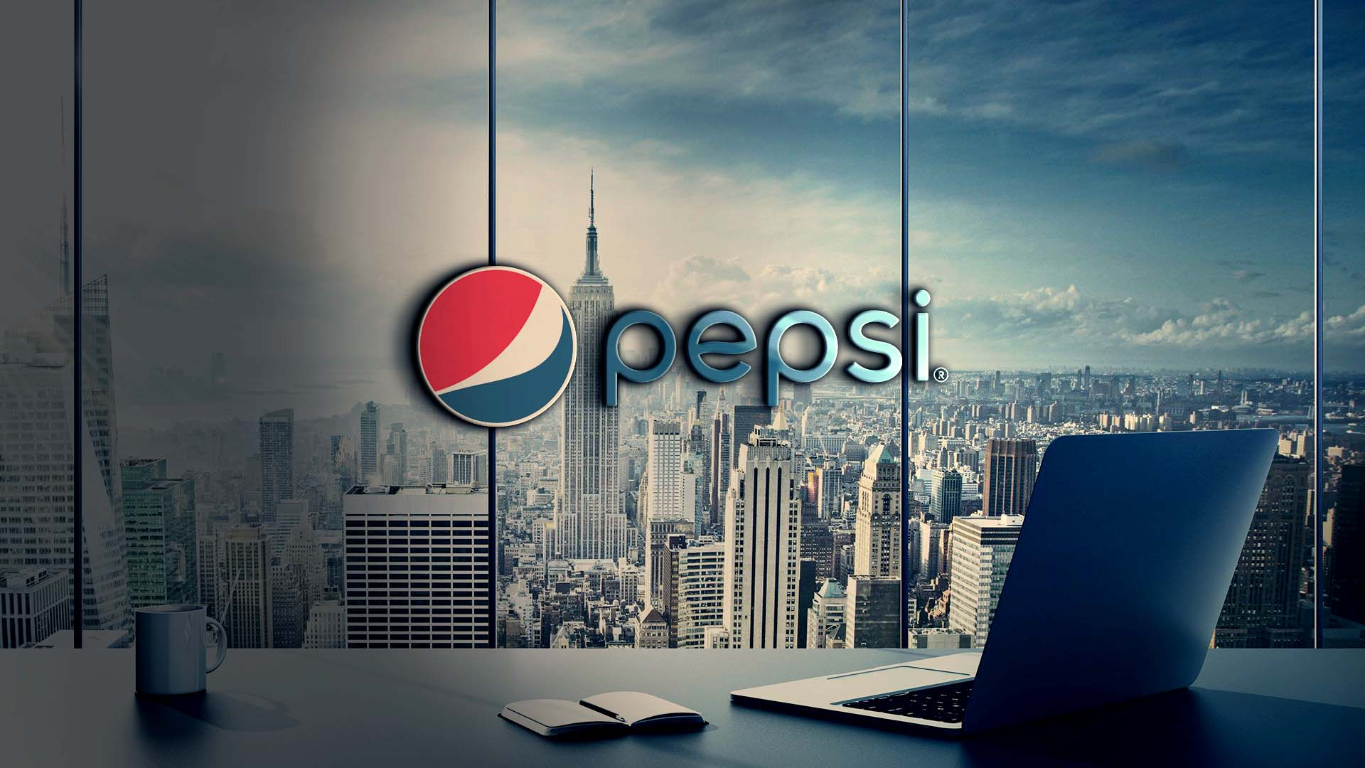 Pepsi Logo on 3d glass wall mockup