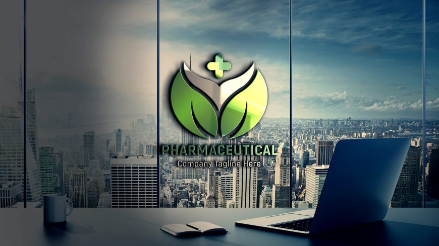 Pharmaceutical-Logo-Design-On-Office-Glass-wall