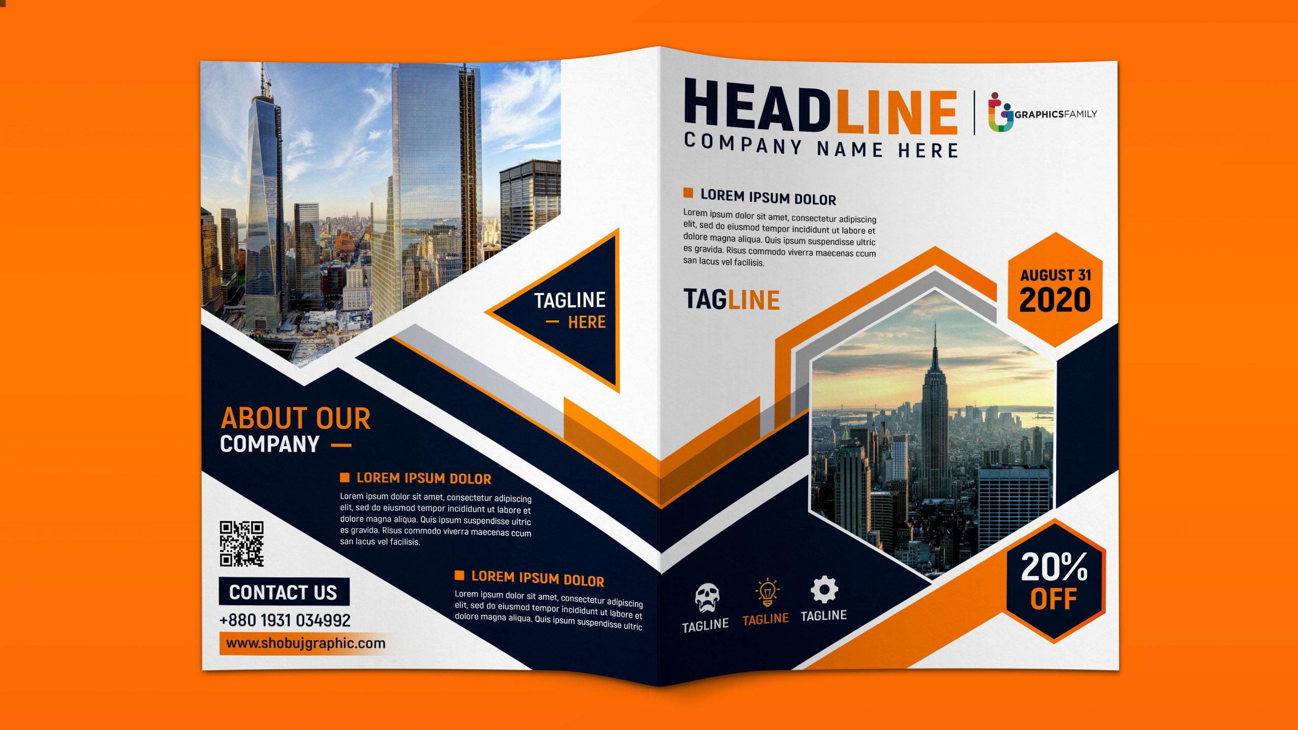 Professional Bi fold Brochure Design Free psd Download