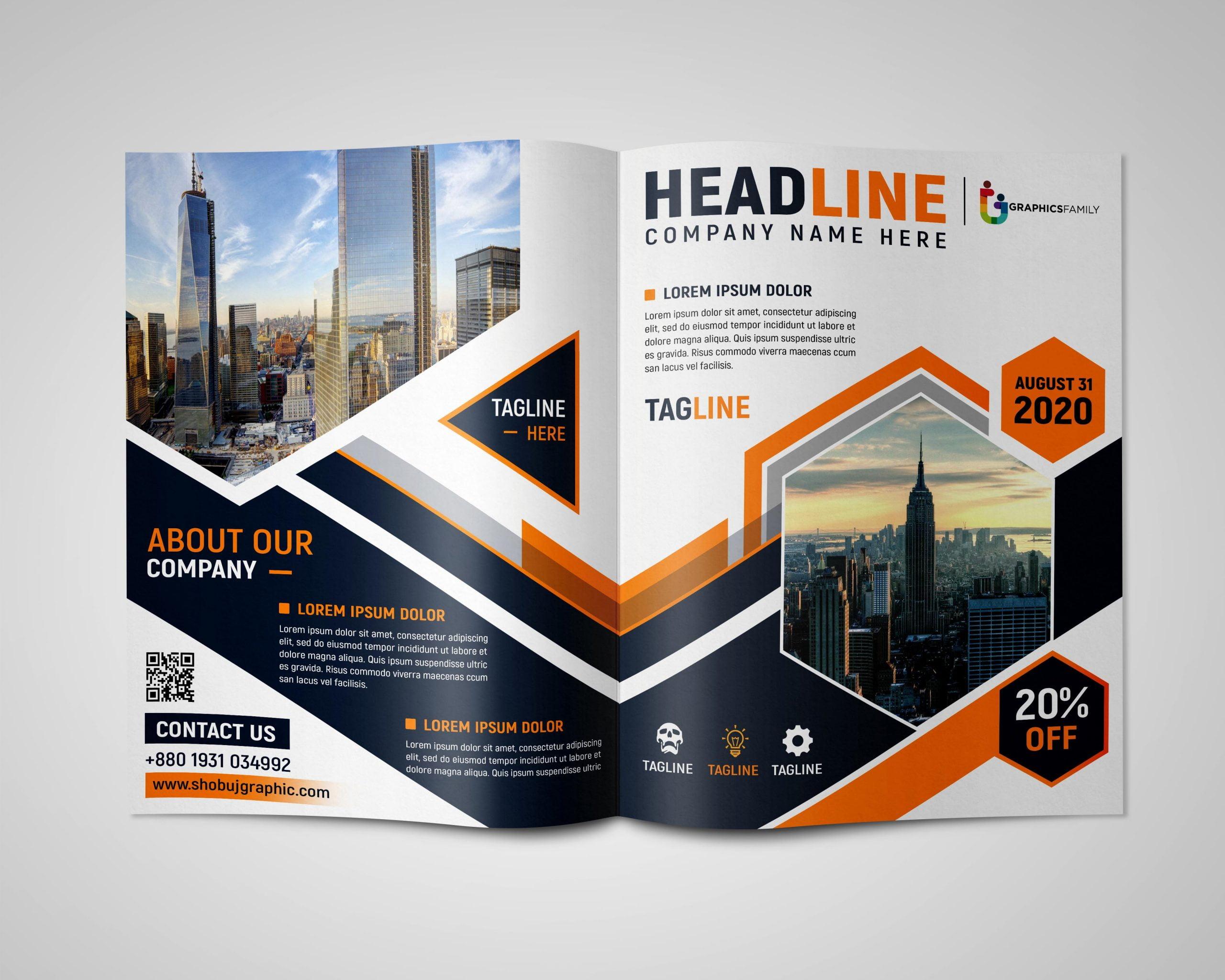Professional Bi fold Brochure Design Free psd