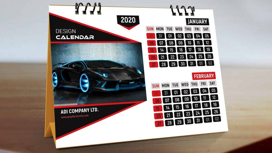 Professional-Desk-Calendar-in-Black-and-red-scaled