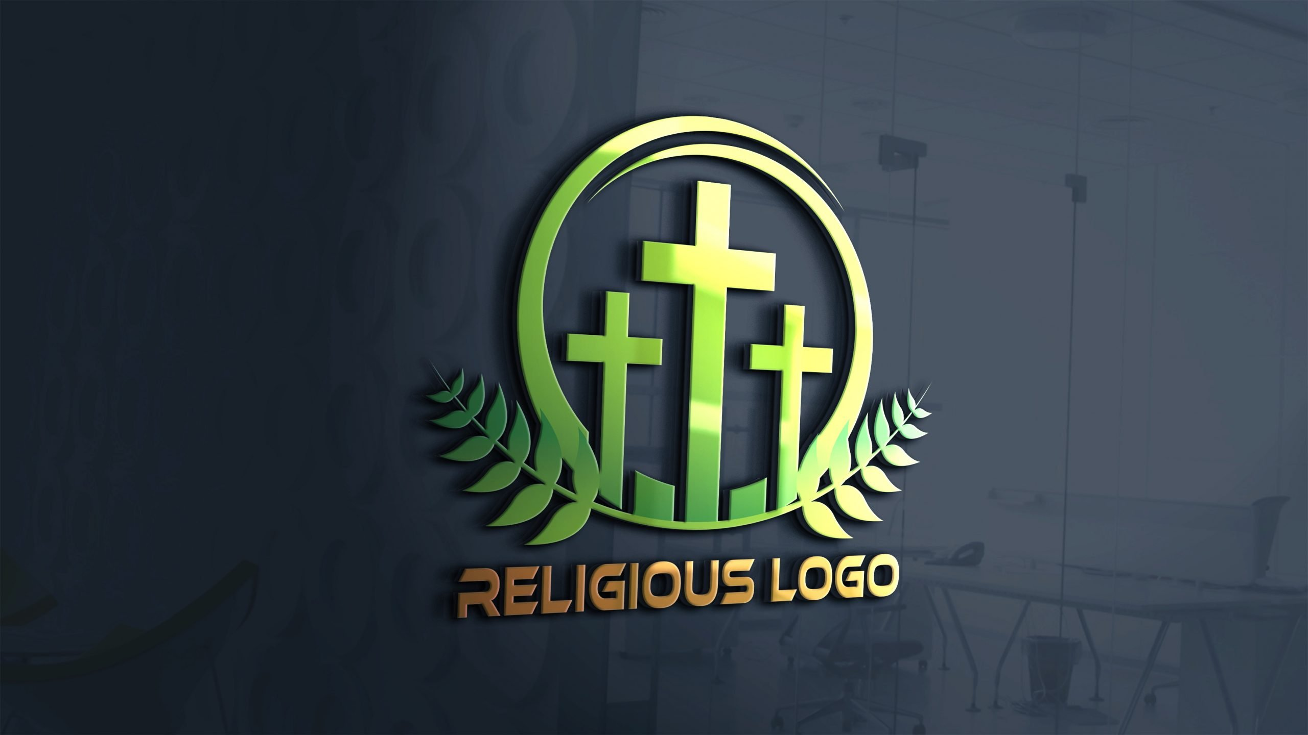 Religious and Spirituality Logo Template on 3d office wall