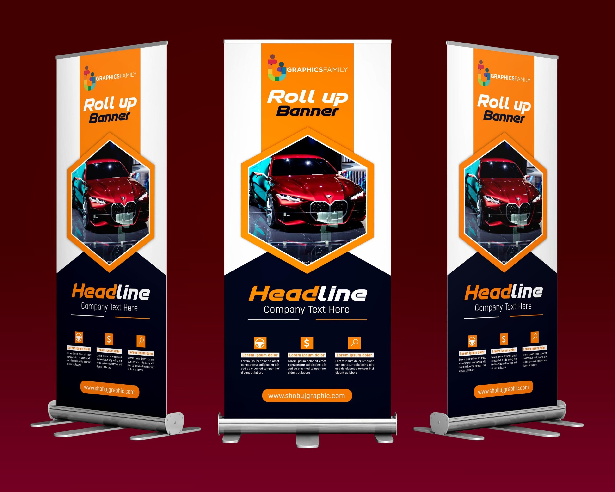 Rent a car roll-up banner design in photoshop