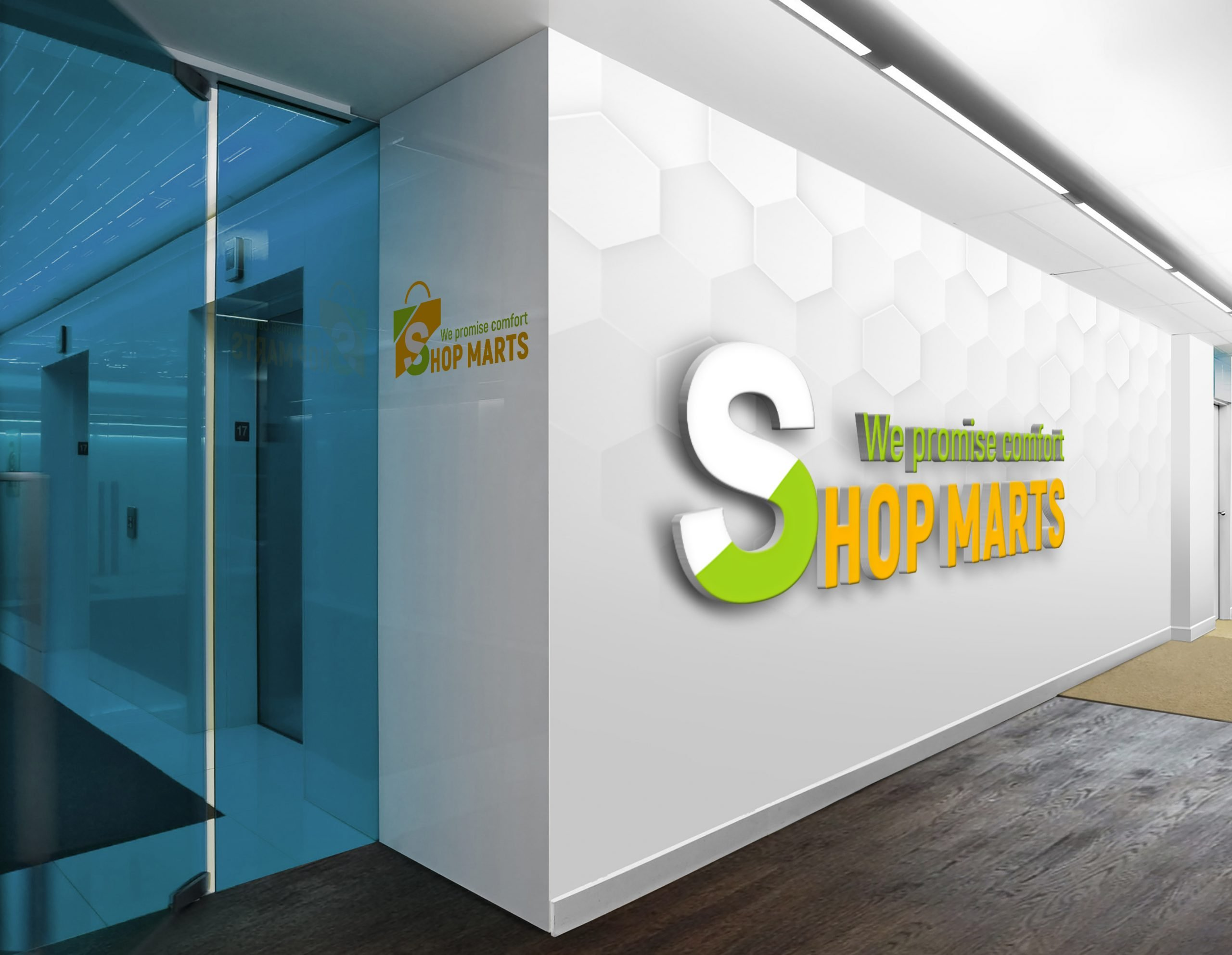 Shopping logo on white wall presentation