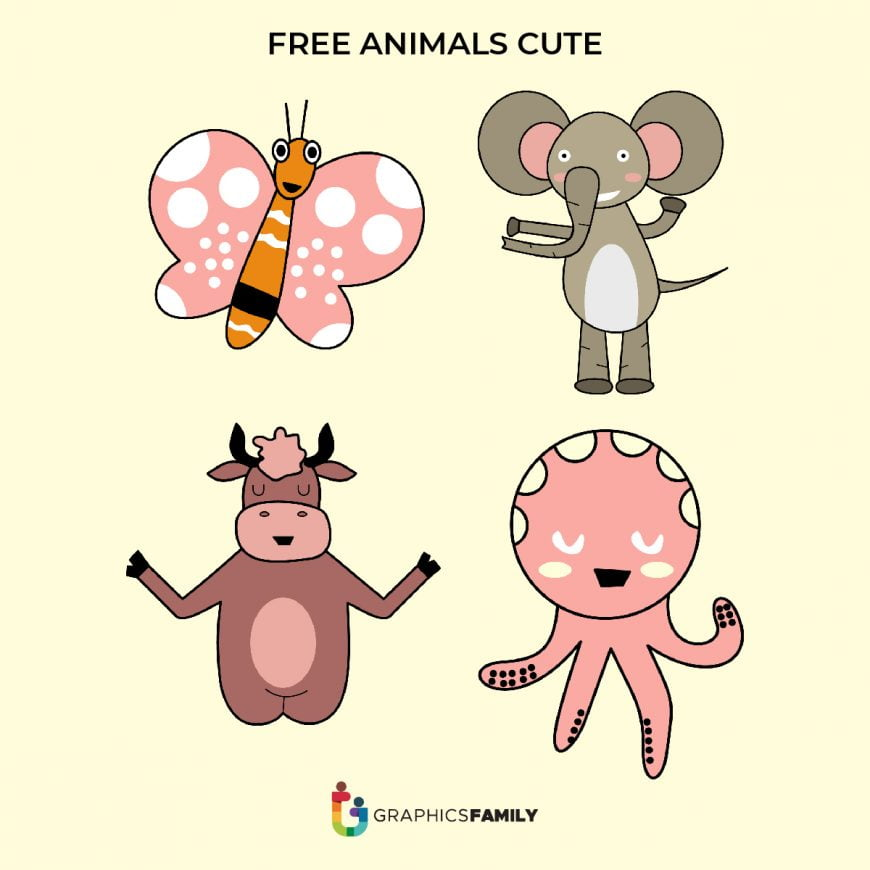 Cute Butterfly, Elephant, Cow and Octupus Free Vectors