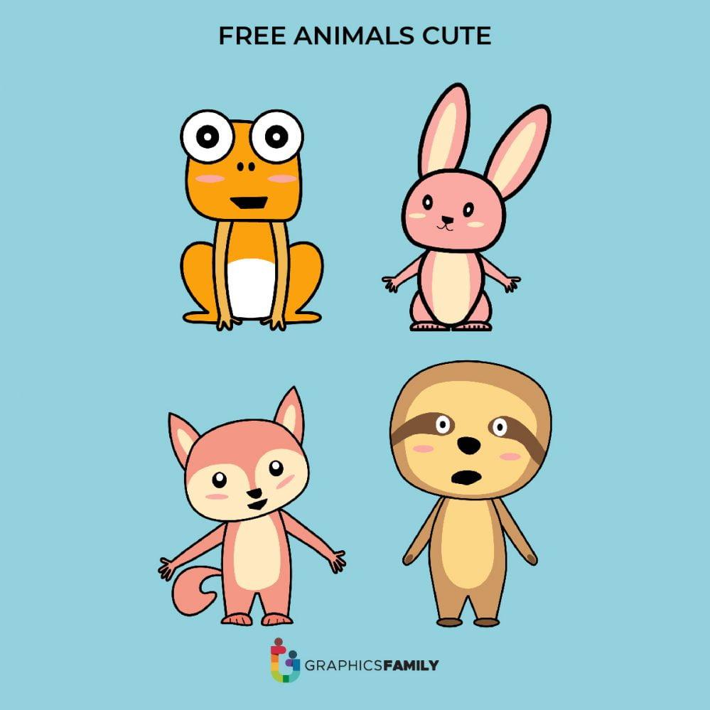 Frog, Bunny, Fox Free Vectors
