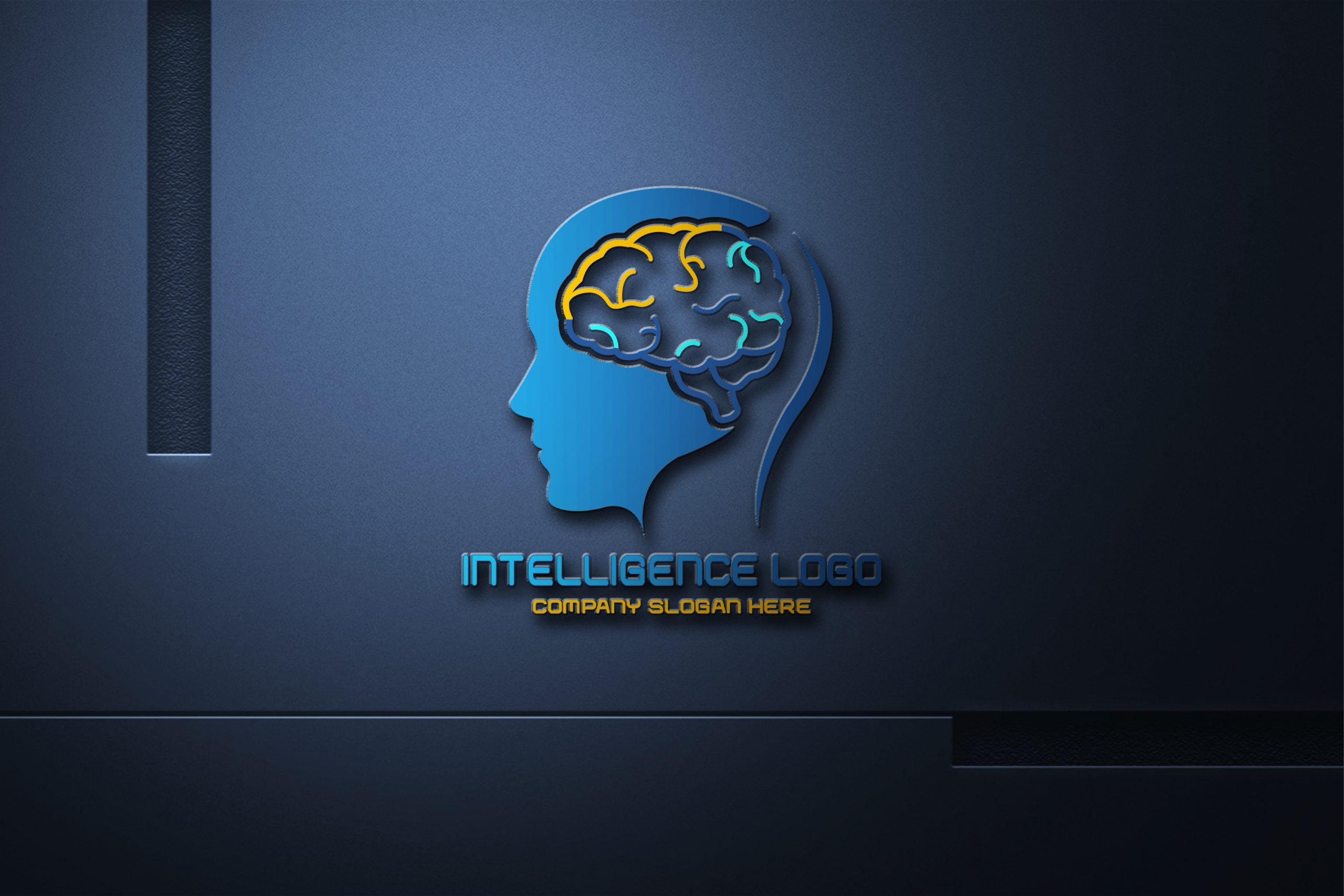 Artificial Intelligence Logo on realistic dark mockup