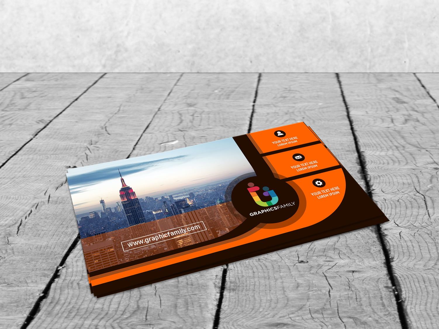 Black and Orange Business card for Financial Auditor Free Psd