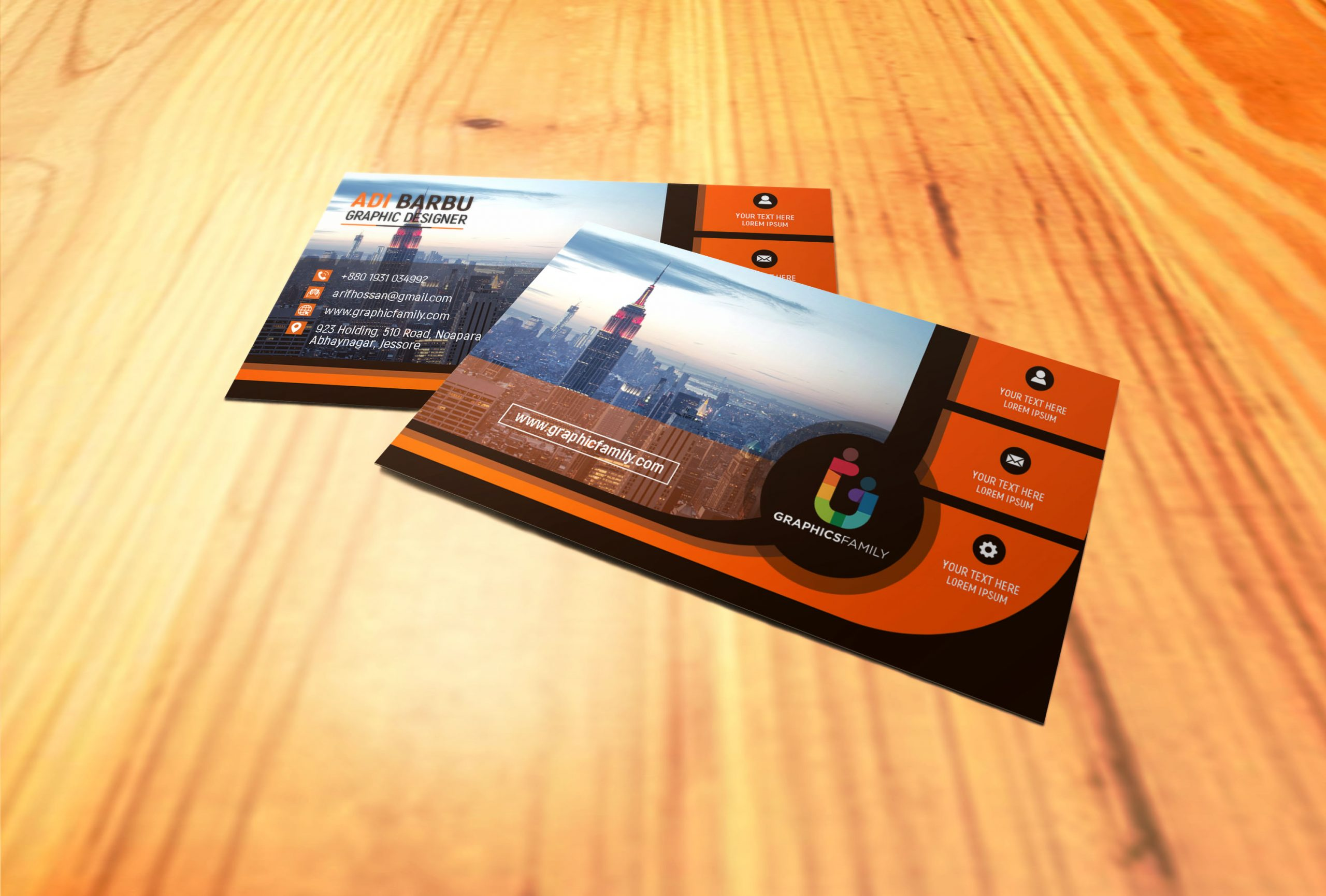 Black and Orange Business card for Financial Auditor Free Template