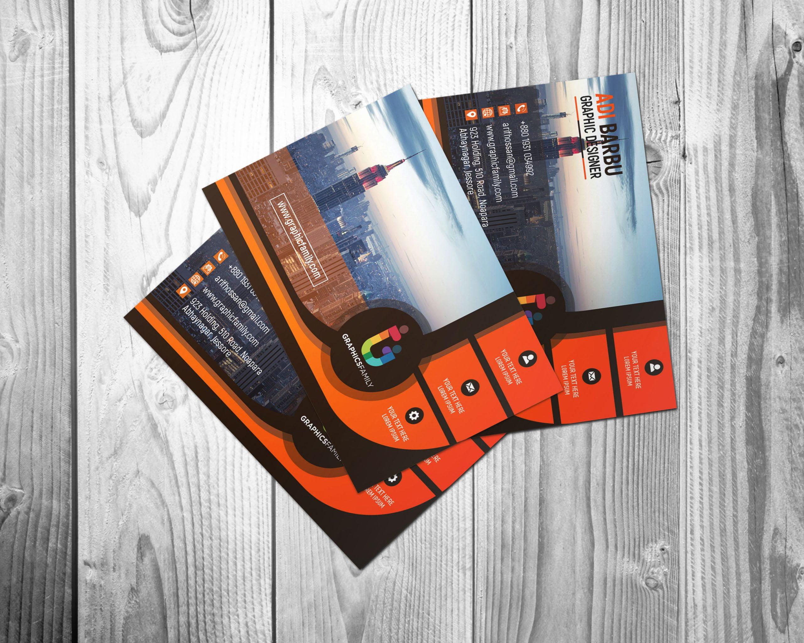 Black and Orange Business card for Financial Auditor Mockup Presentation