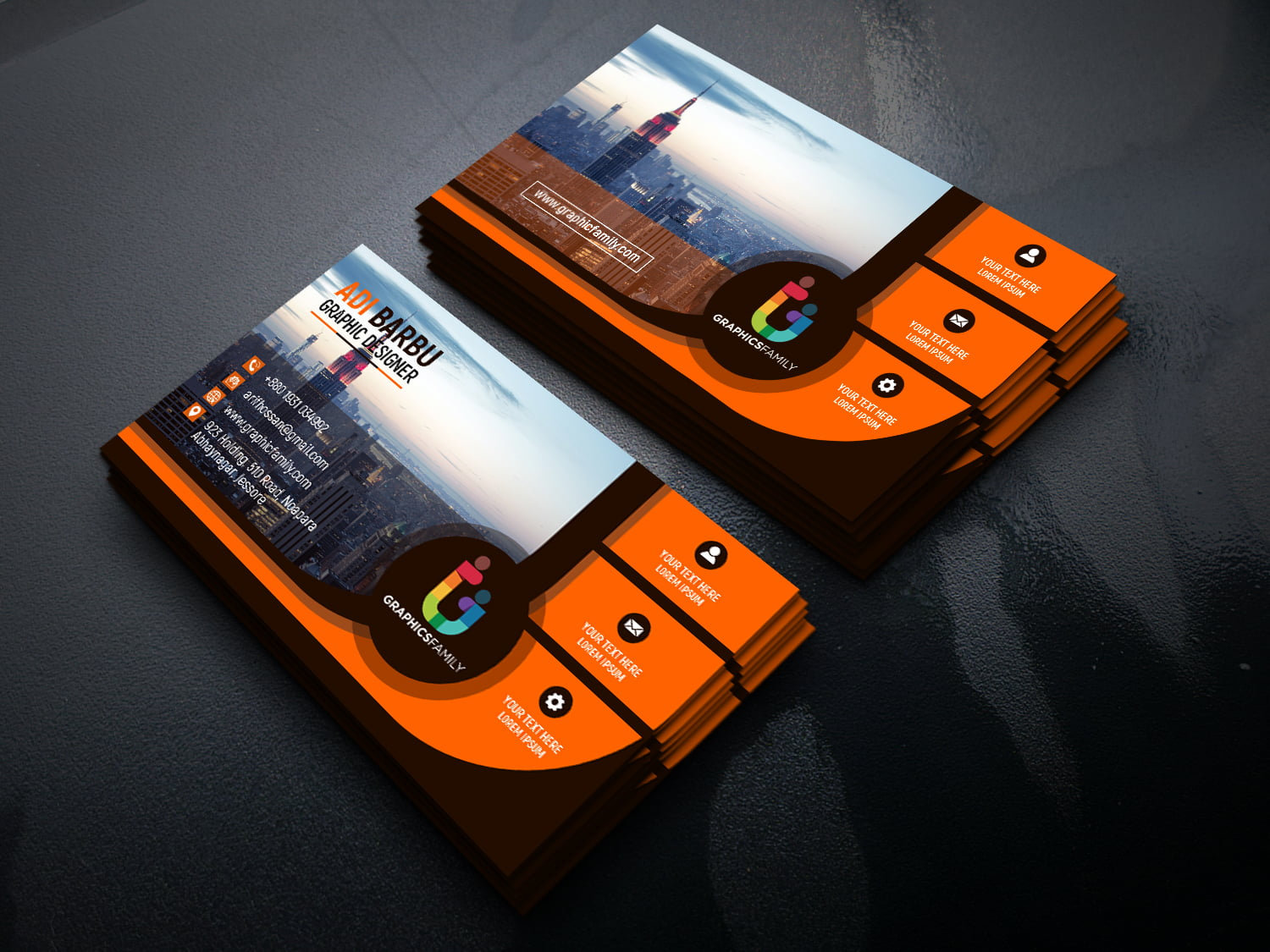 Black and Orange Business card for Financial Auditor on Beautiful Mockup
