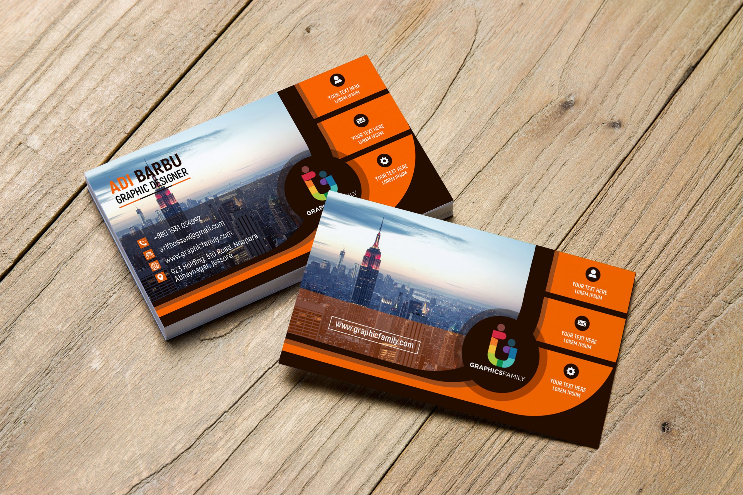 Black and Orange Business card for Financial Auditor